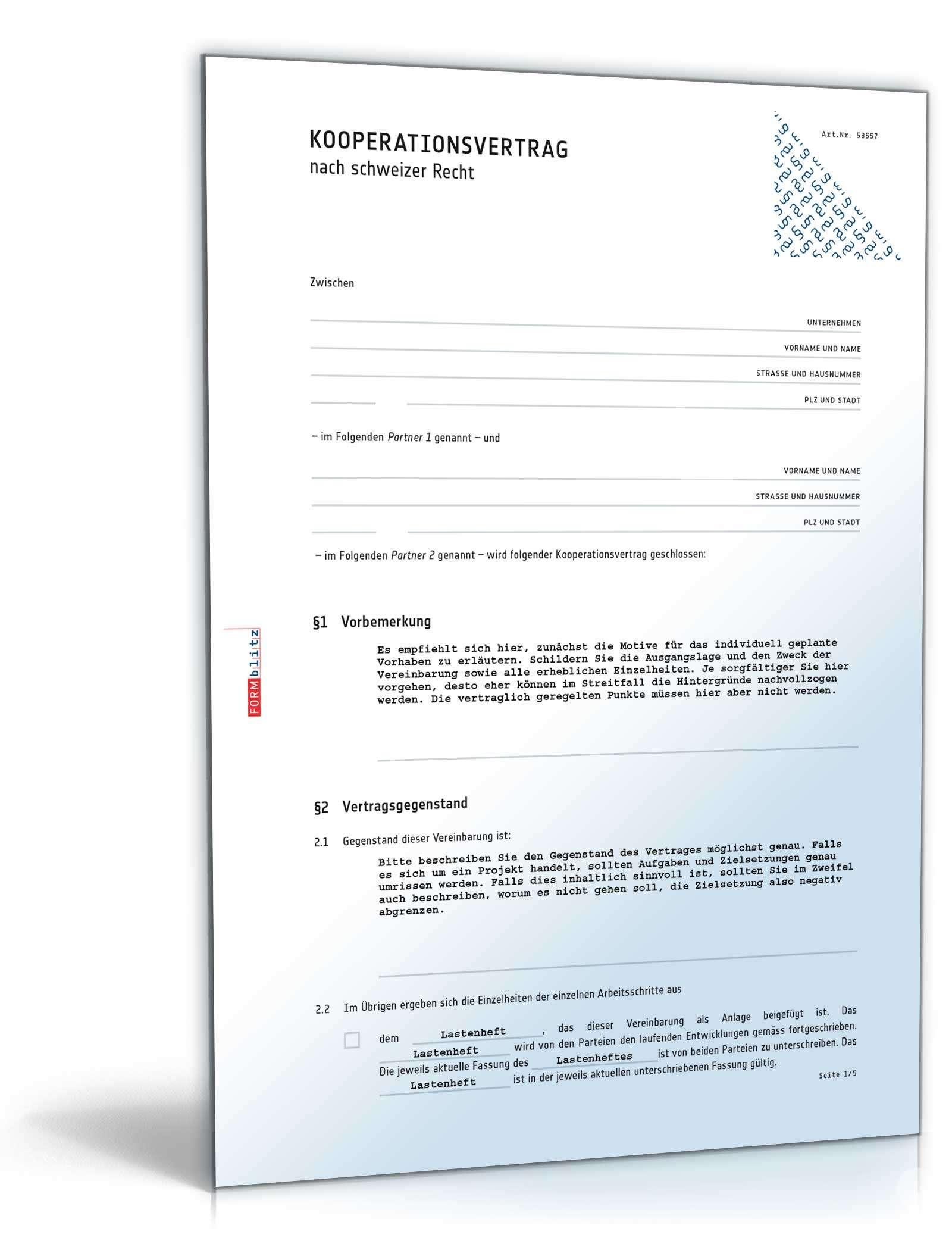 Musterbriefe Zusammenarbeit : Kooperationsvertrag muster zum download
