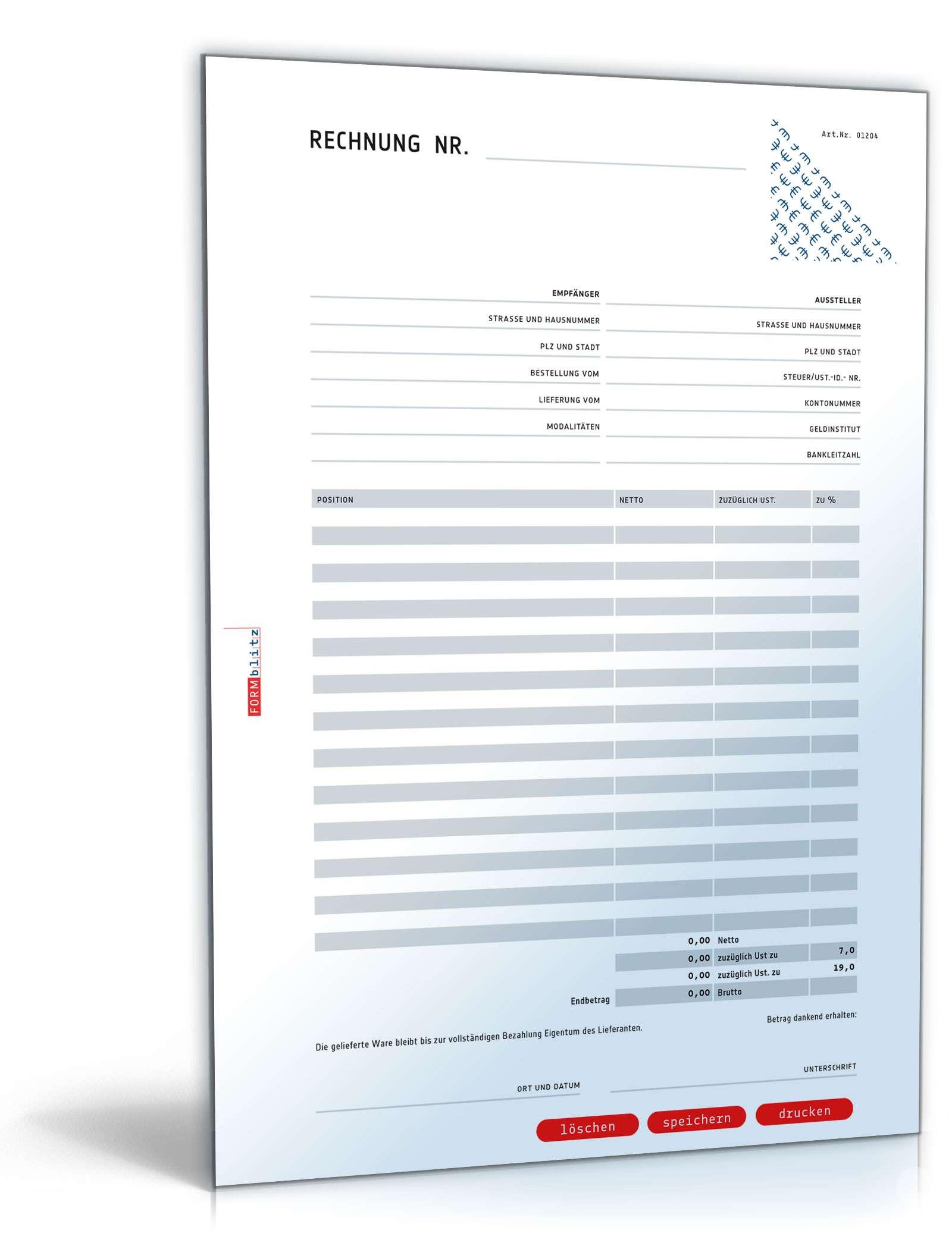 rechnung netto umsatzsteuer variabel muster vorlage zum download. Black Bedroom Furniture Sets. Home Design Ideas
