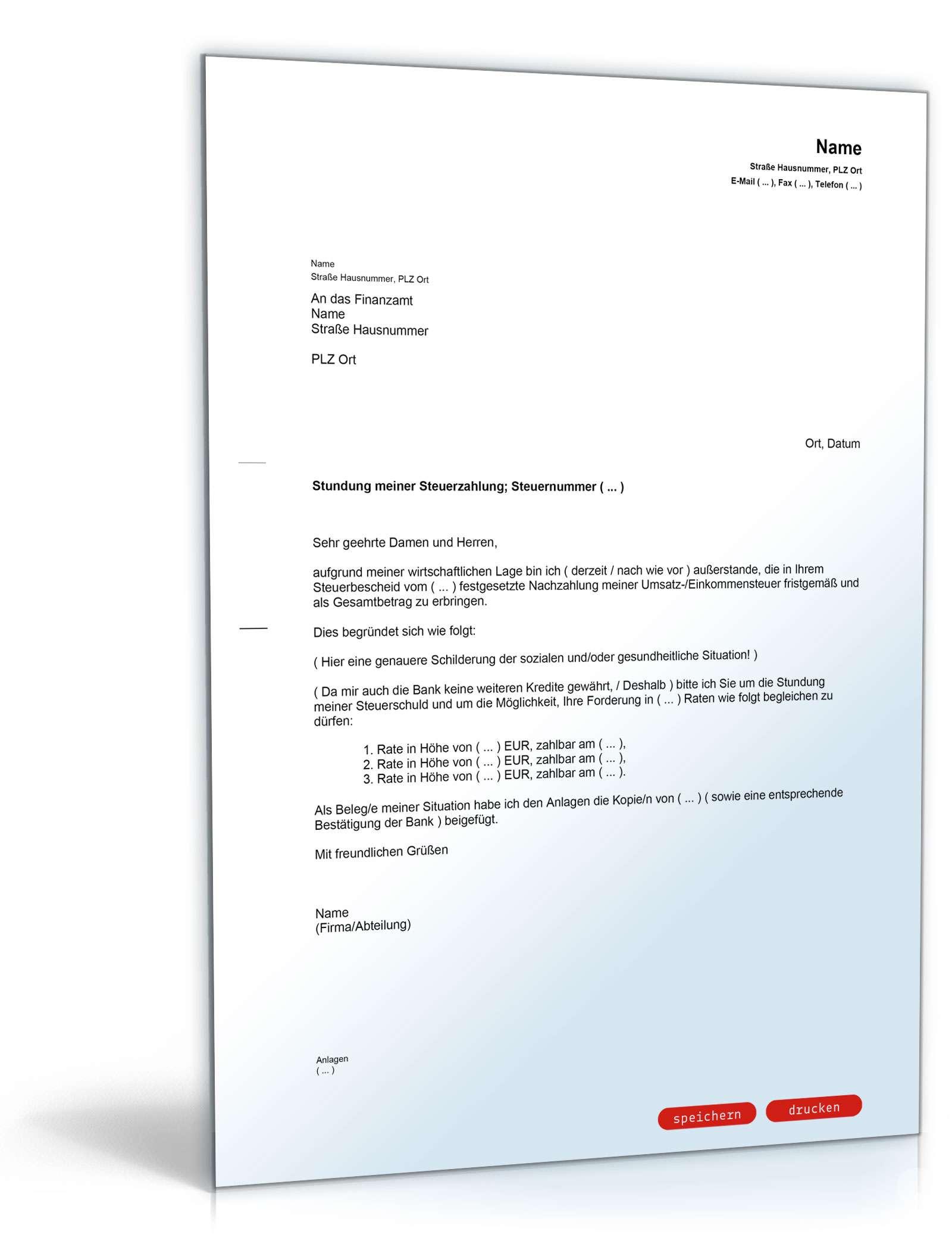 Zahlungserleichterung Vorlage Finanzamt Muster Vorlage Ch 1
