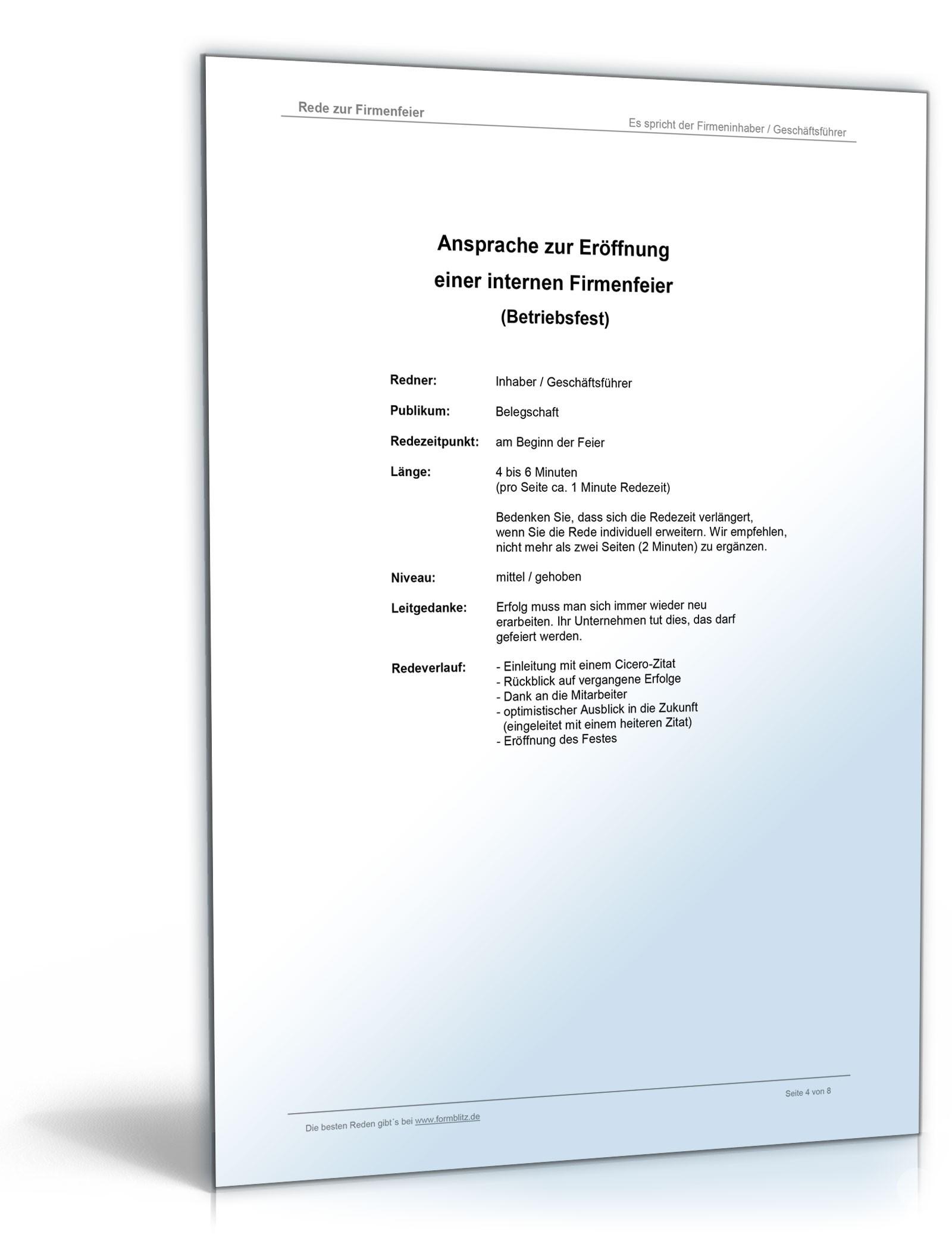 Muster-Rede Betriebsfeier - Vorlage zum Download