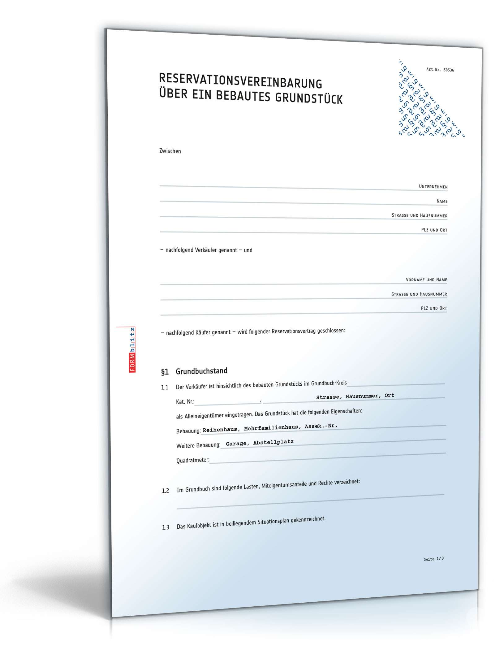 Reservationsvereinbarung Dokument zum Download