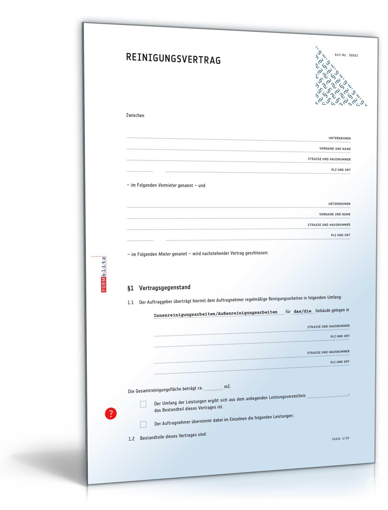 Reinigungsvertrag Muster Vorlage Zum Download