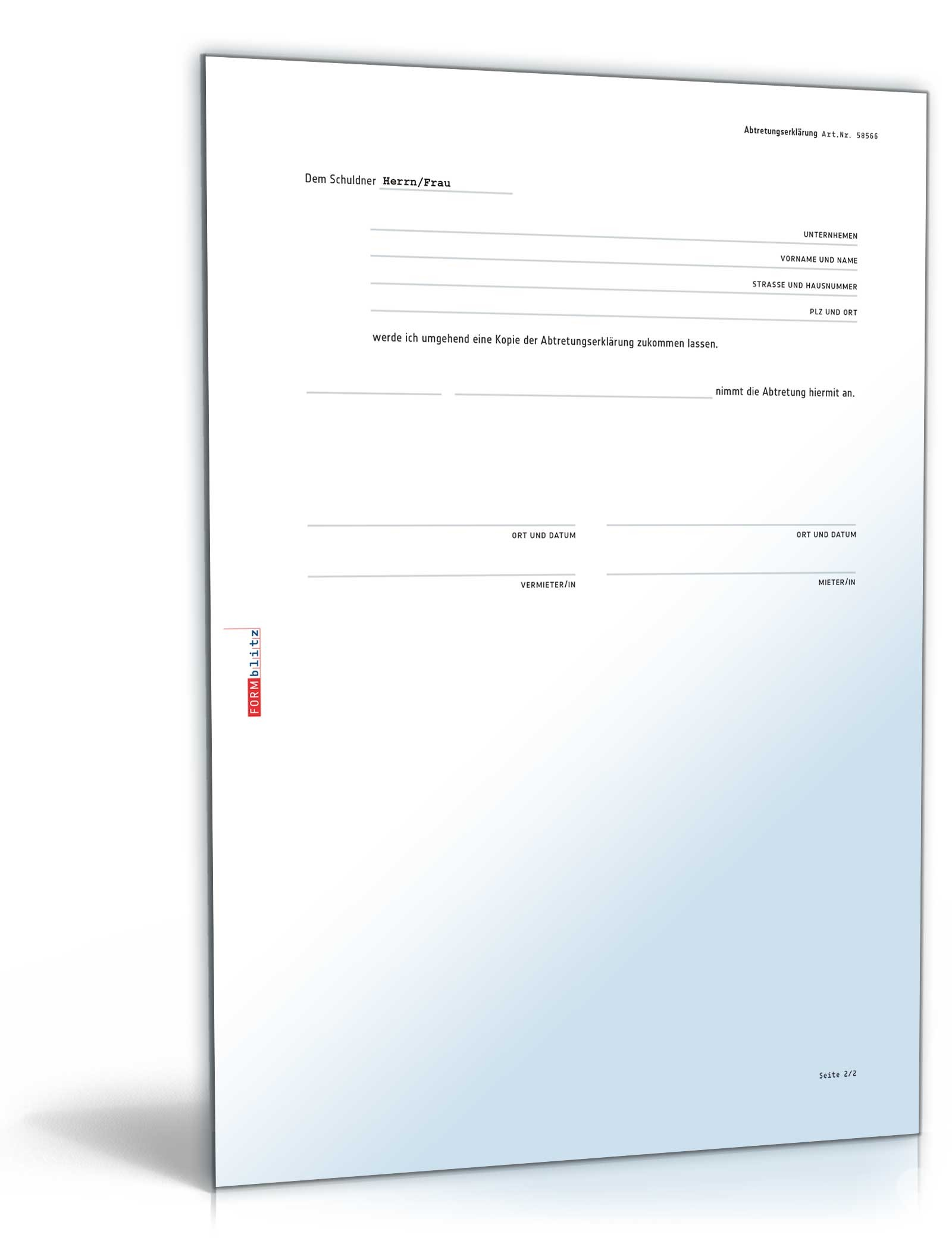 Abtretungserklarung Muster Vorlage Zum Download