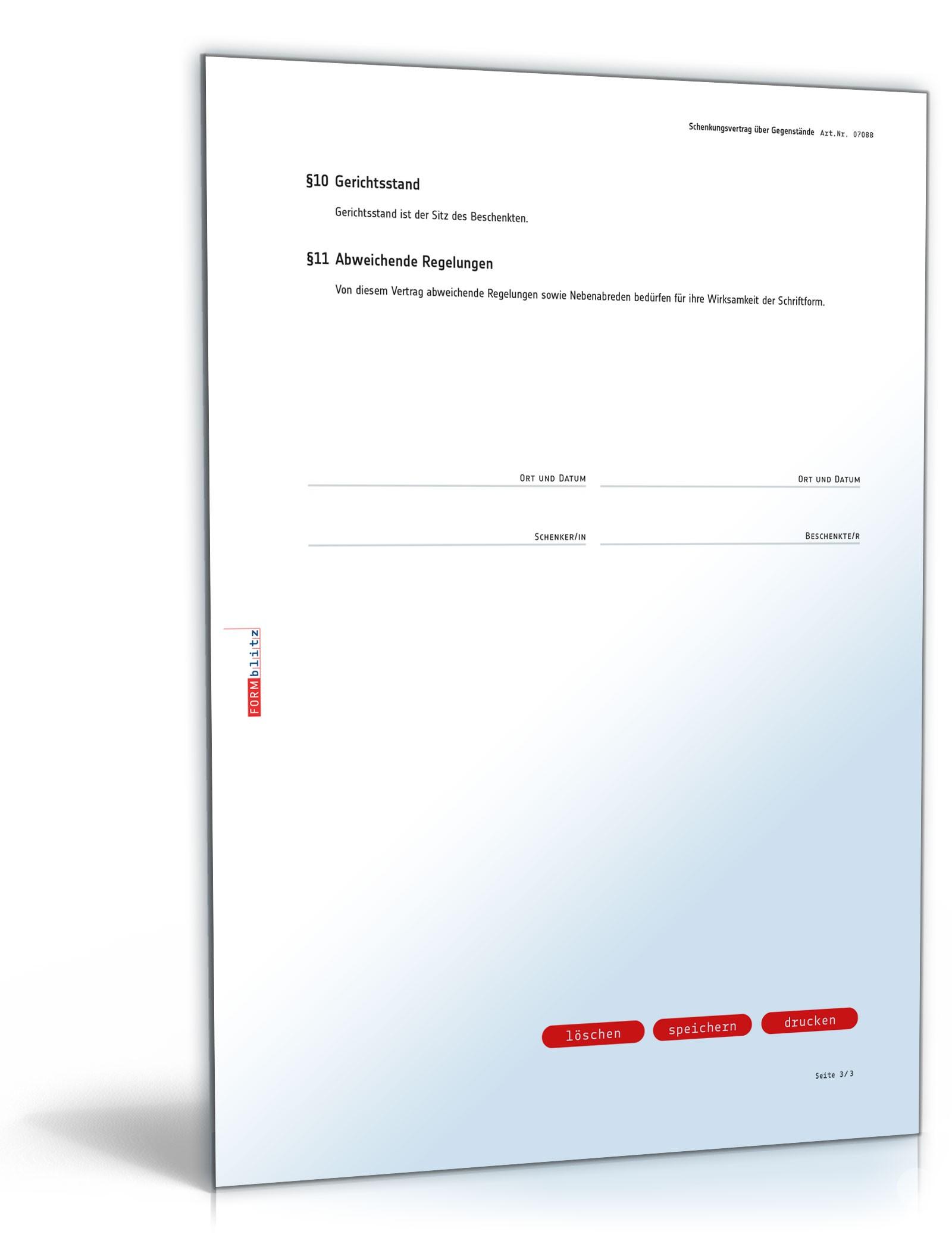 Schenkungsvertrag Gegenstände Muster Zum Download