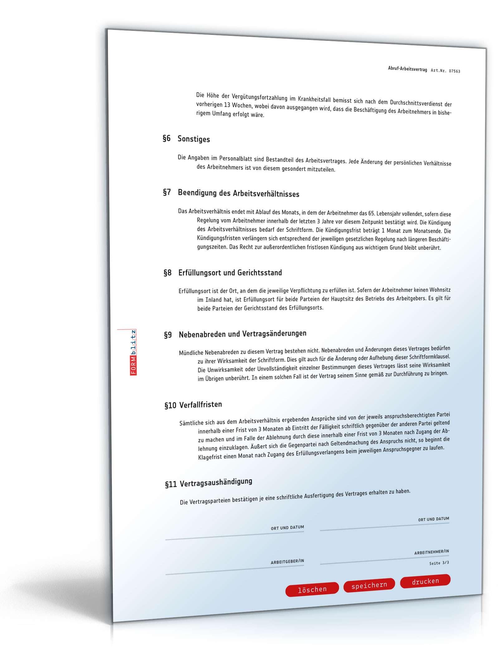 Abruf Arbeitsvertrag Muster Vorlage Zum Download