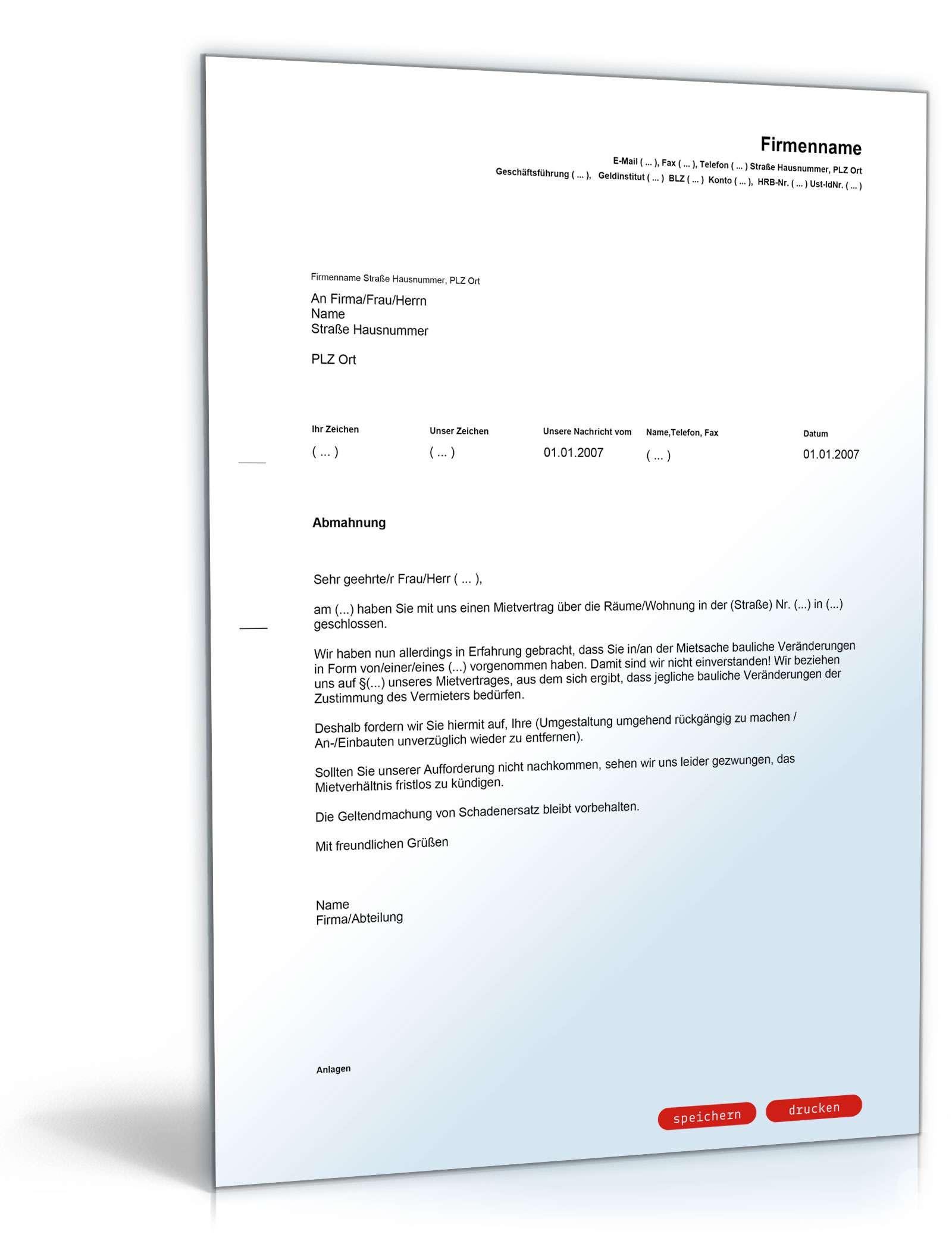 Abmahnung Wegen Baulicher Veränderung Muster Brief Zum Download