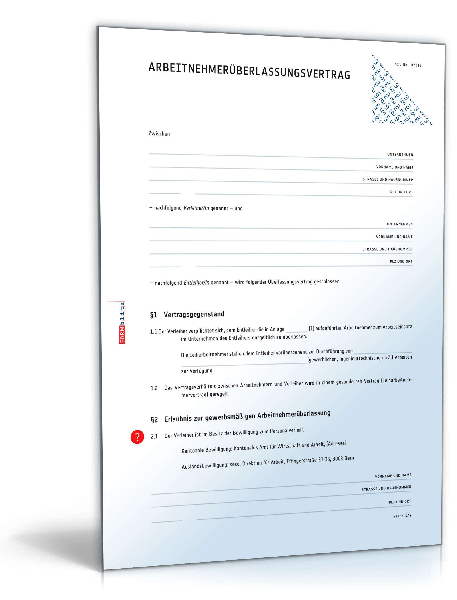 Arbeitnehmerüberlassungsvertrag Muster Vorlage Zum Download
