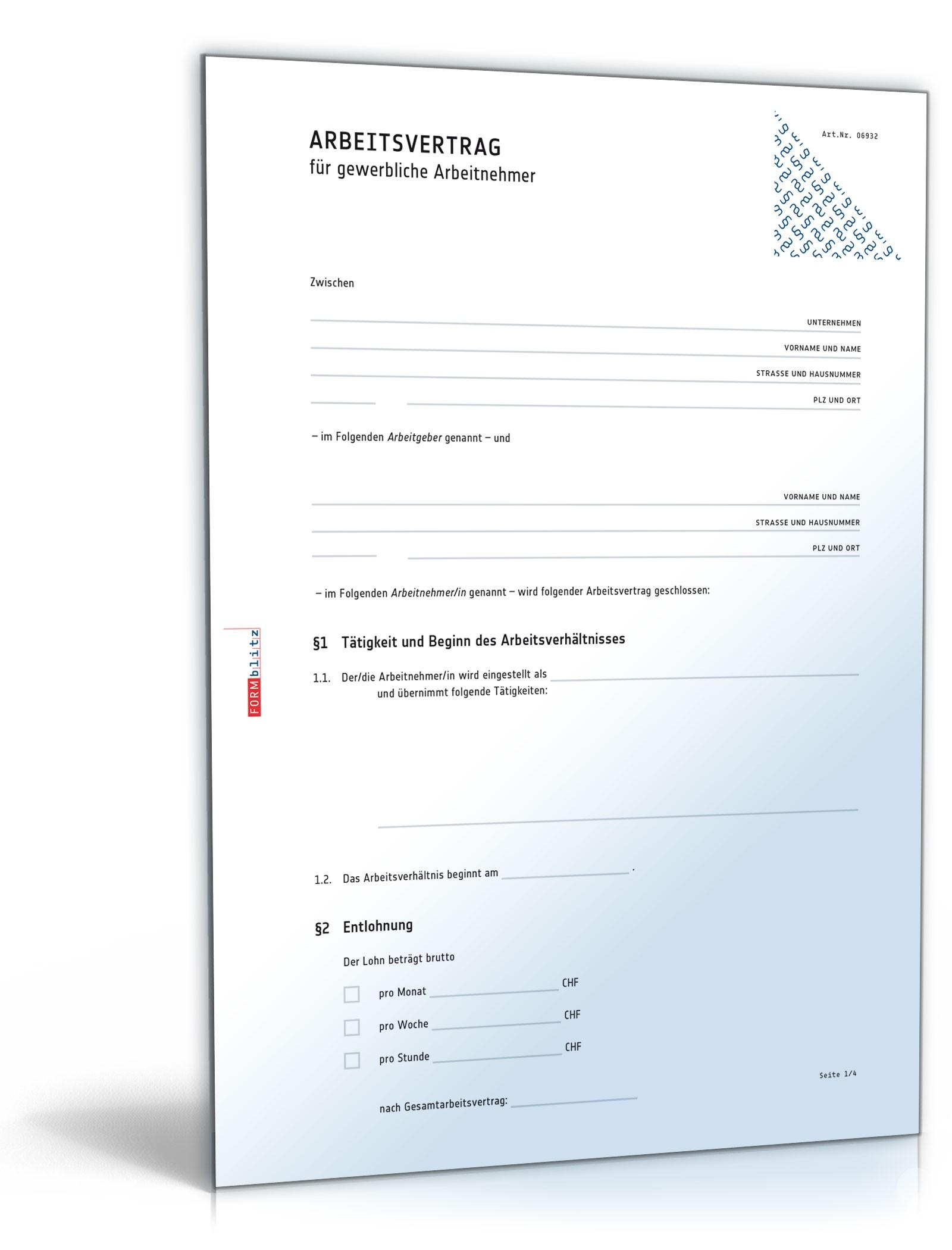 Arbeitsvertrag Für Gewerbliche Arbeitnehmer Muster Vorlage Zum