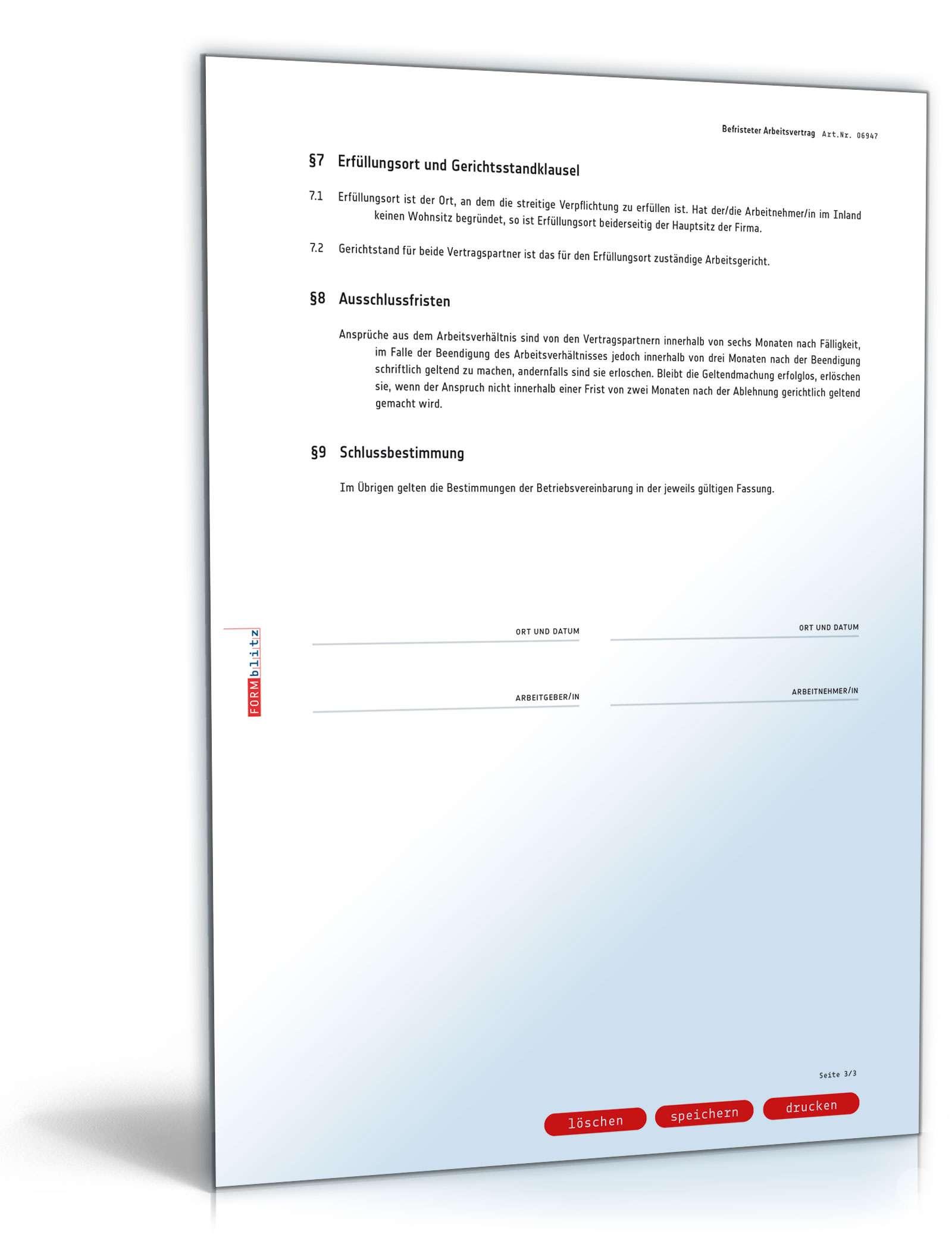 Befristeter Arbeitsvertrag Muster Vorlage Zum Download