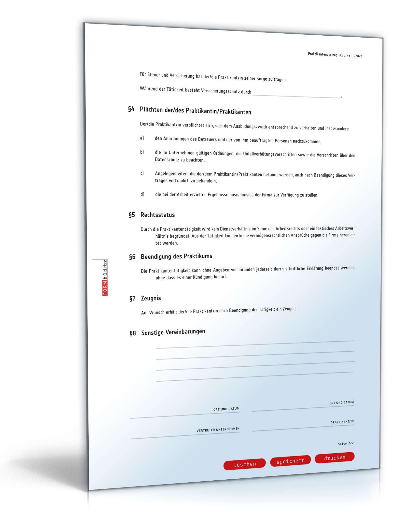 Praktikantenvertrag Muster Nach Schweizerischem Recht Zum Download