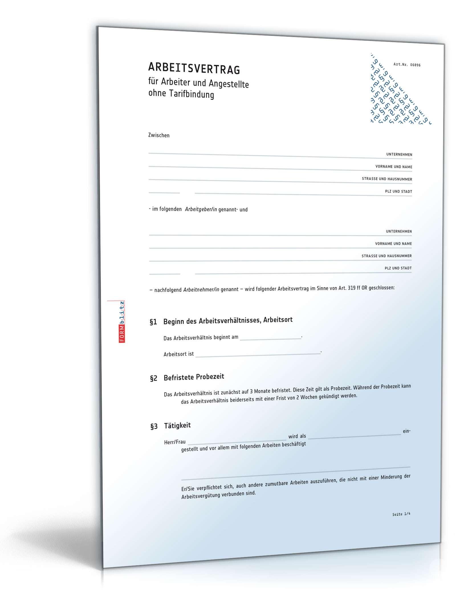 Arbeitsvertrag Vorlage Zum Download