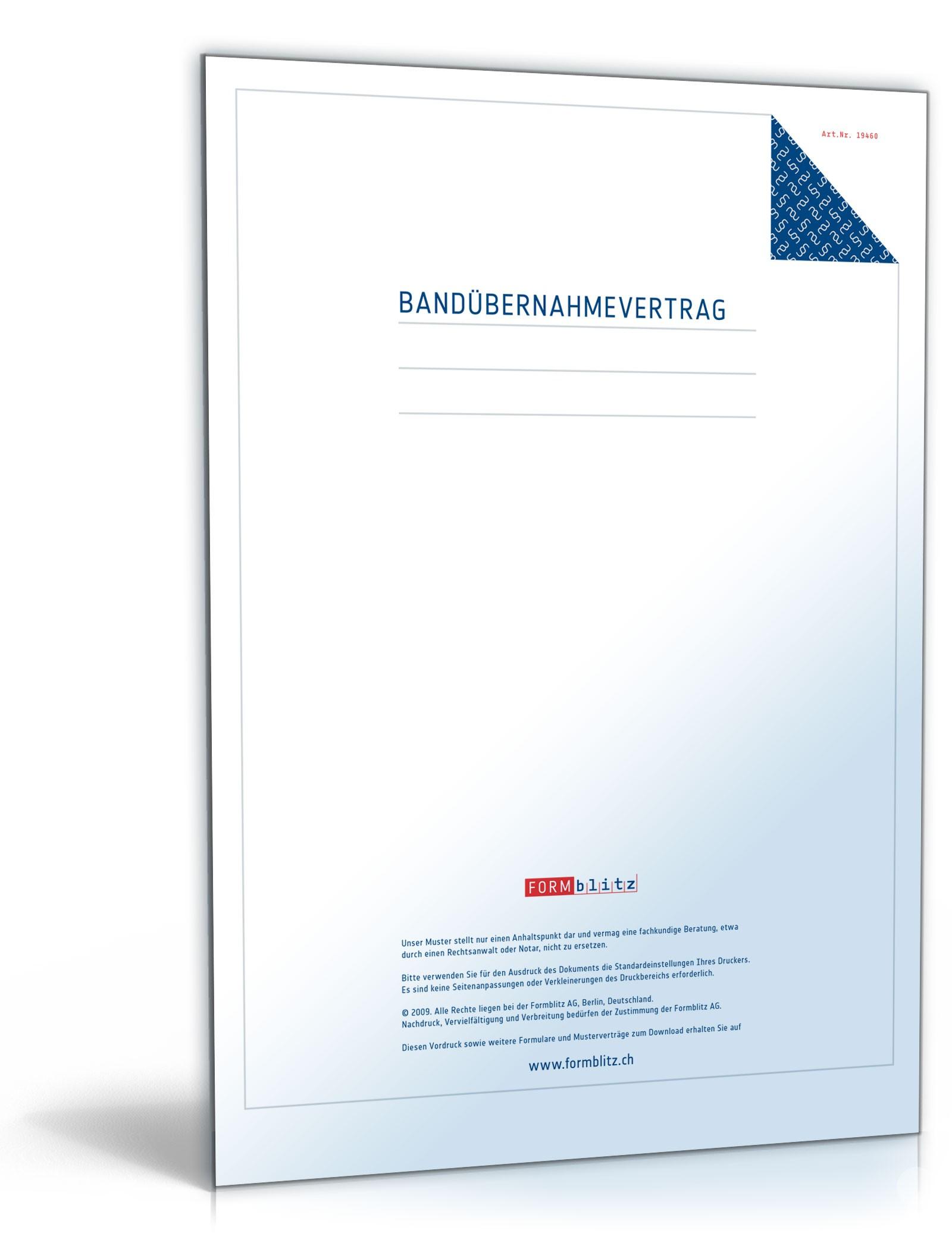 Bandübernahmevertrag - Muster-Vorlage zum Download