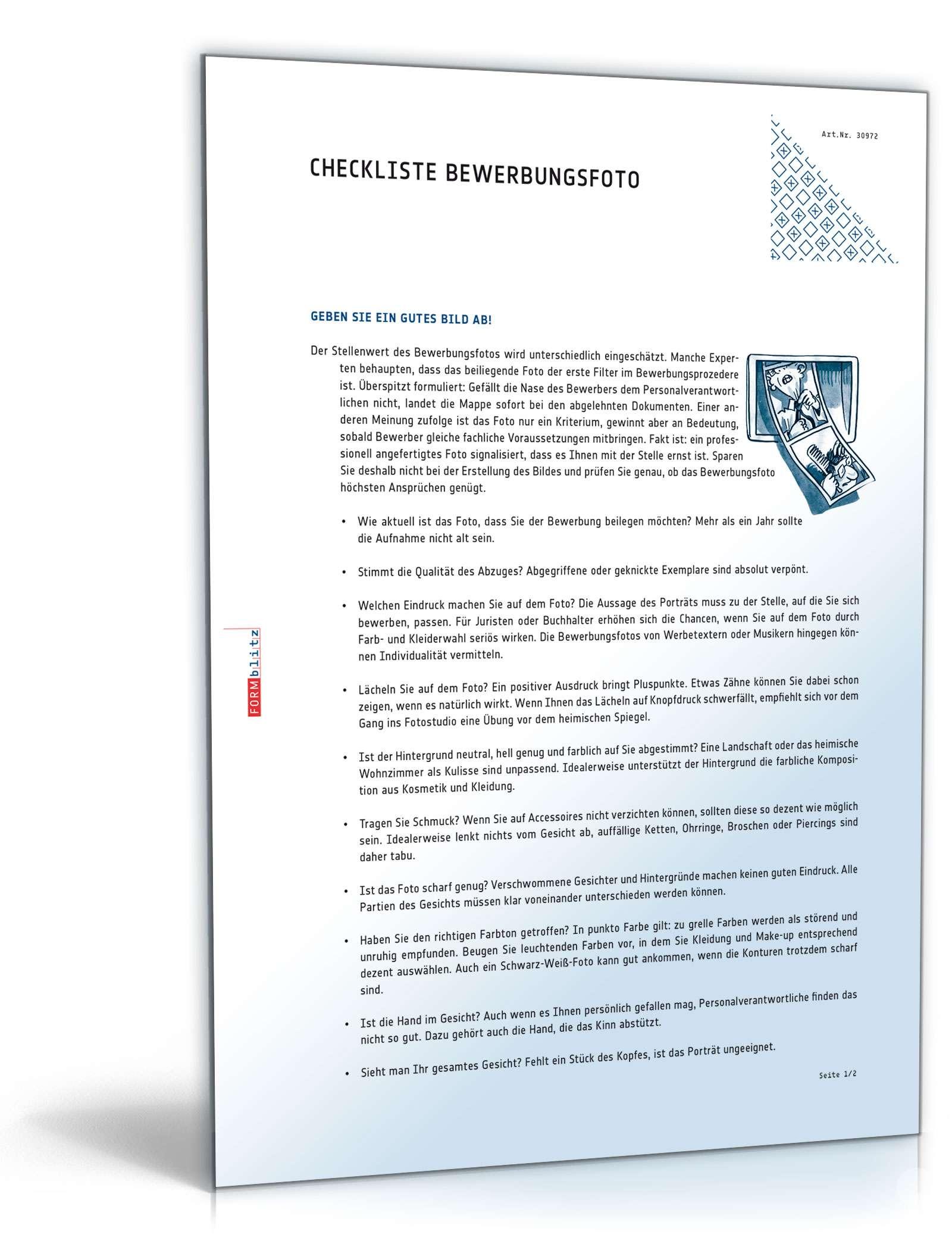Checkliste Bewerbungsfoto Dokument zum Download