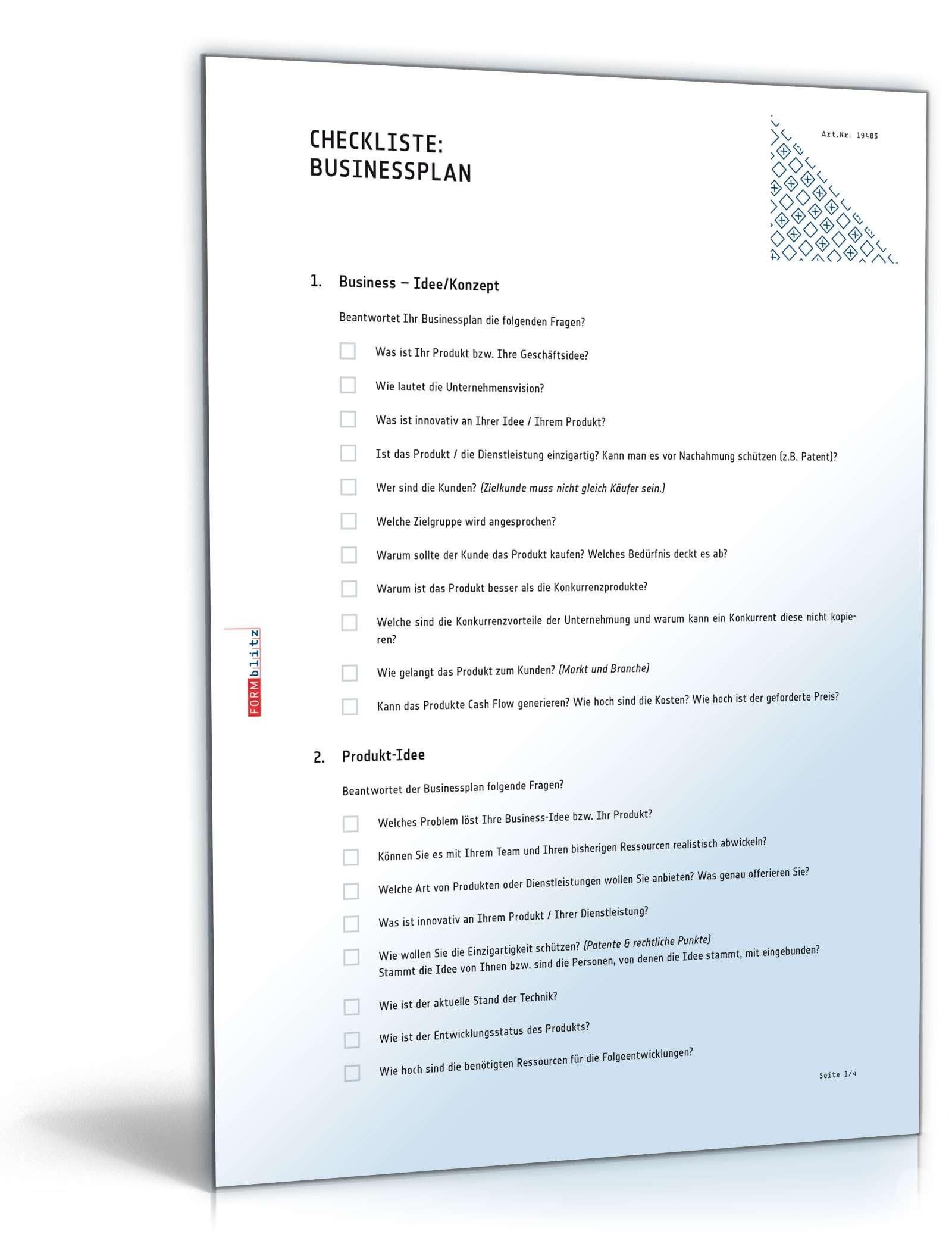 Checkliste für einen Businessplan Dokument zum Download