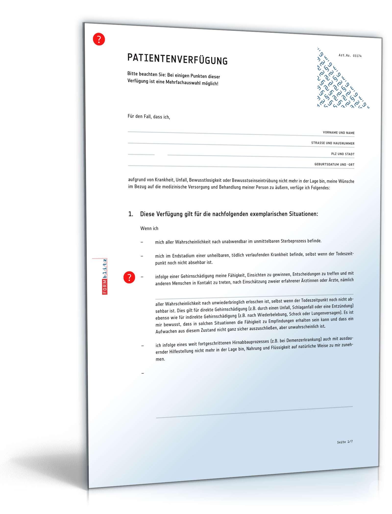 patientenverfgung muster vorlage zum download - Patientenverfugung Muster