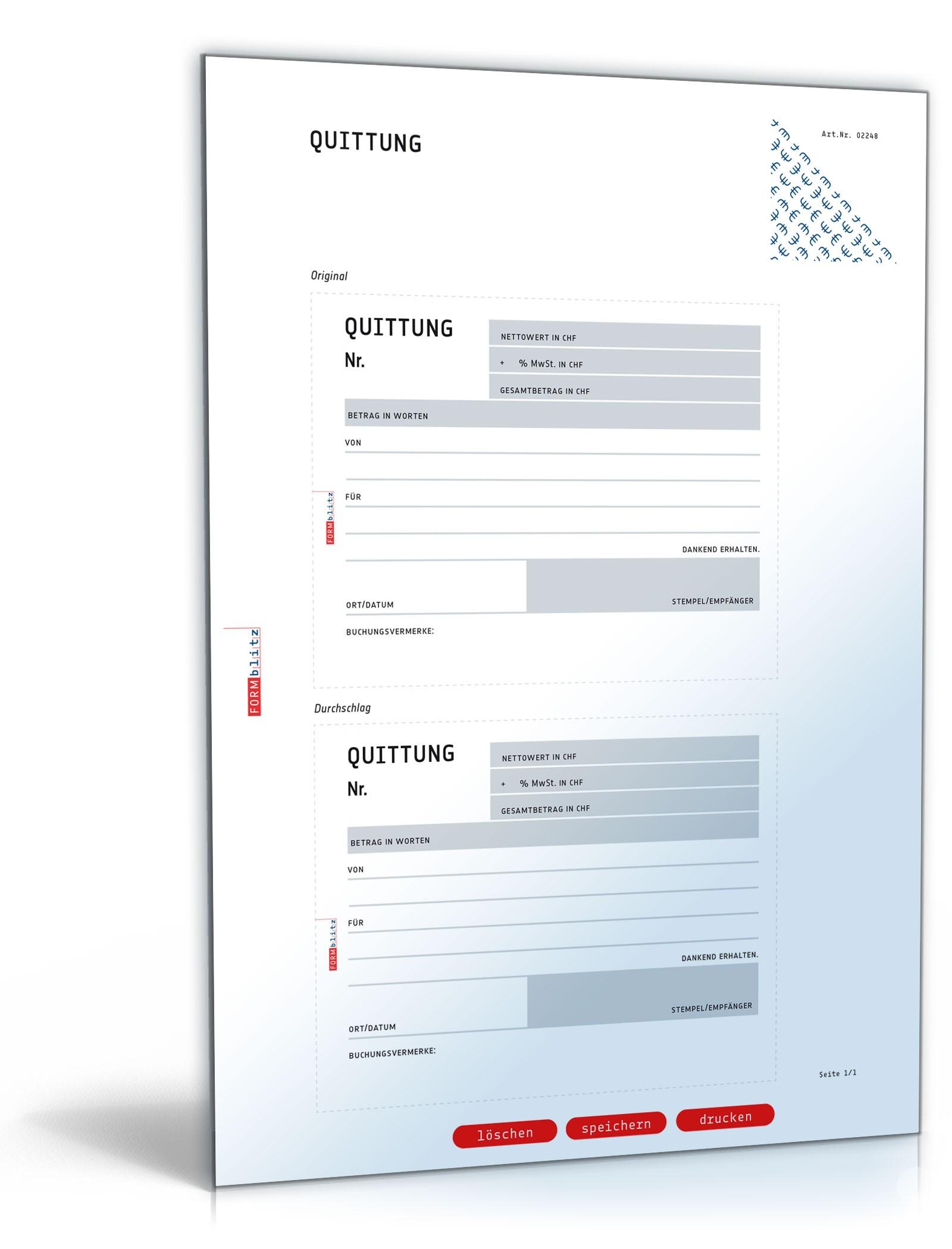 Quittung zum Selbsteintrag - Muster-Vorlage zum Download