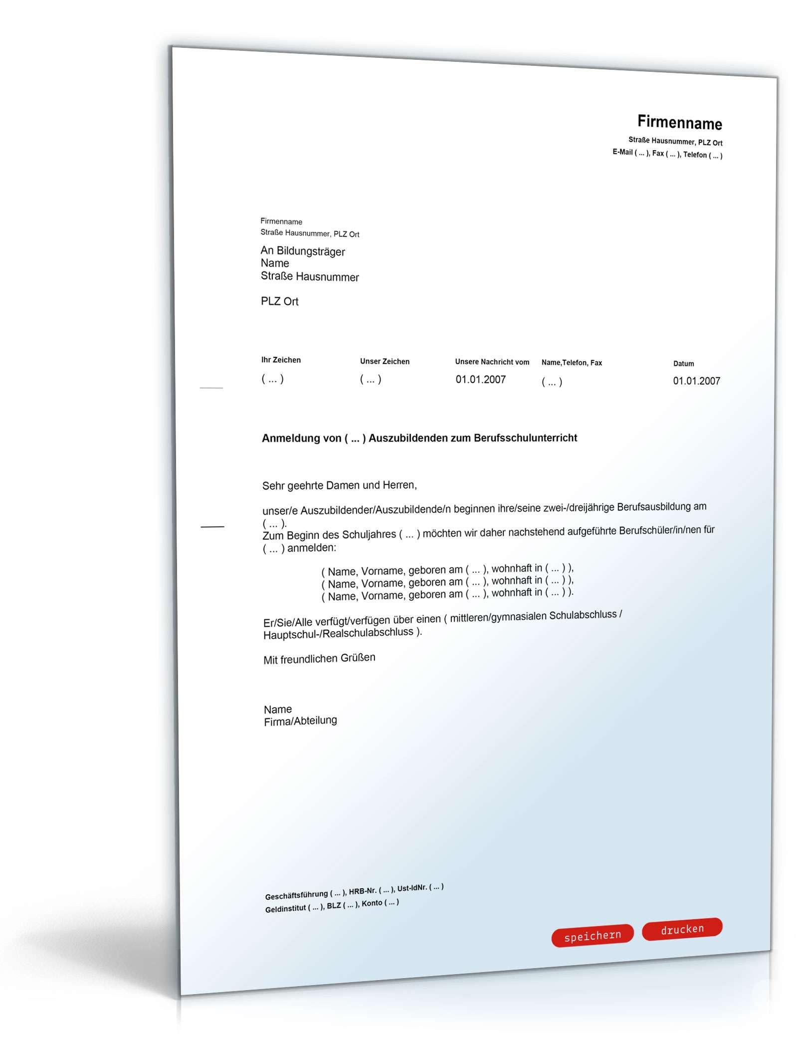 Anmeldung eines Azubi zur Berufsschule - Muster-Vorlage zum Download