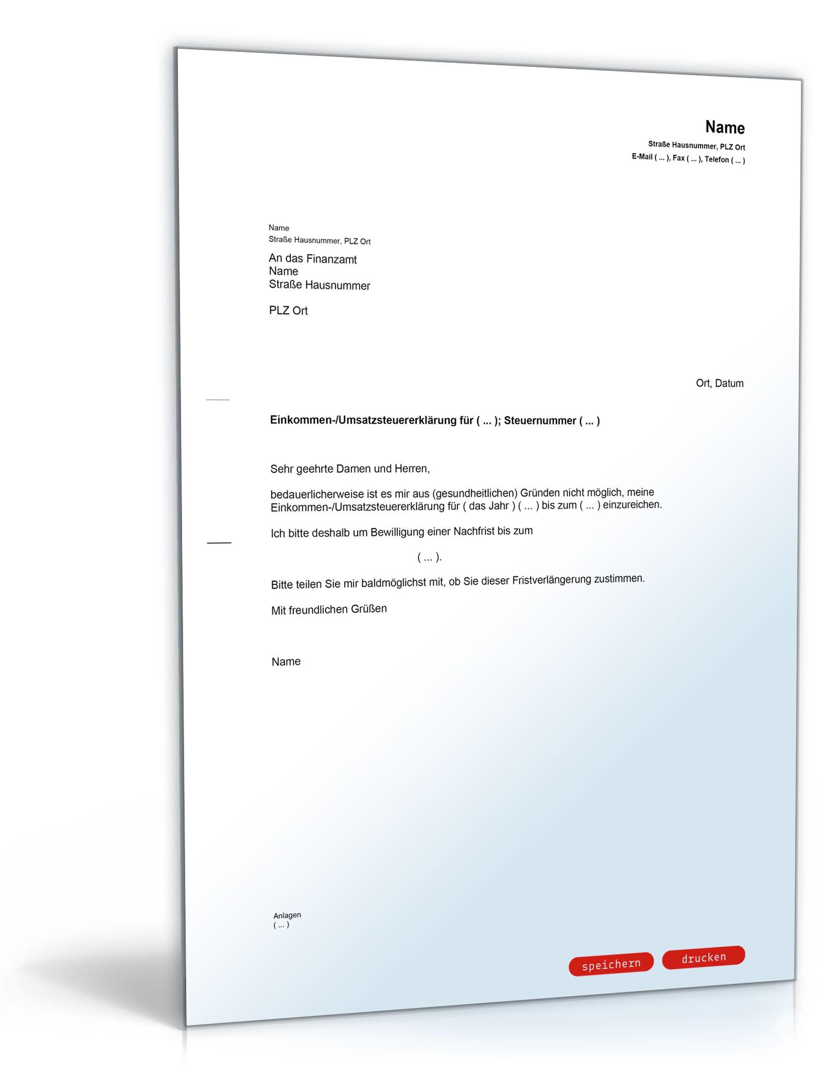 Antrag Nachfrist Fur Die Steuererklarung Muster Vorlage Zum Download