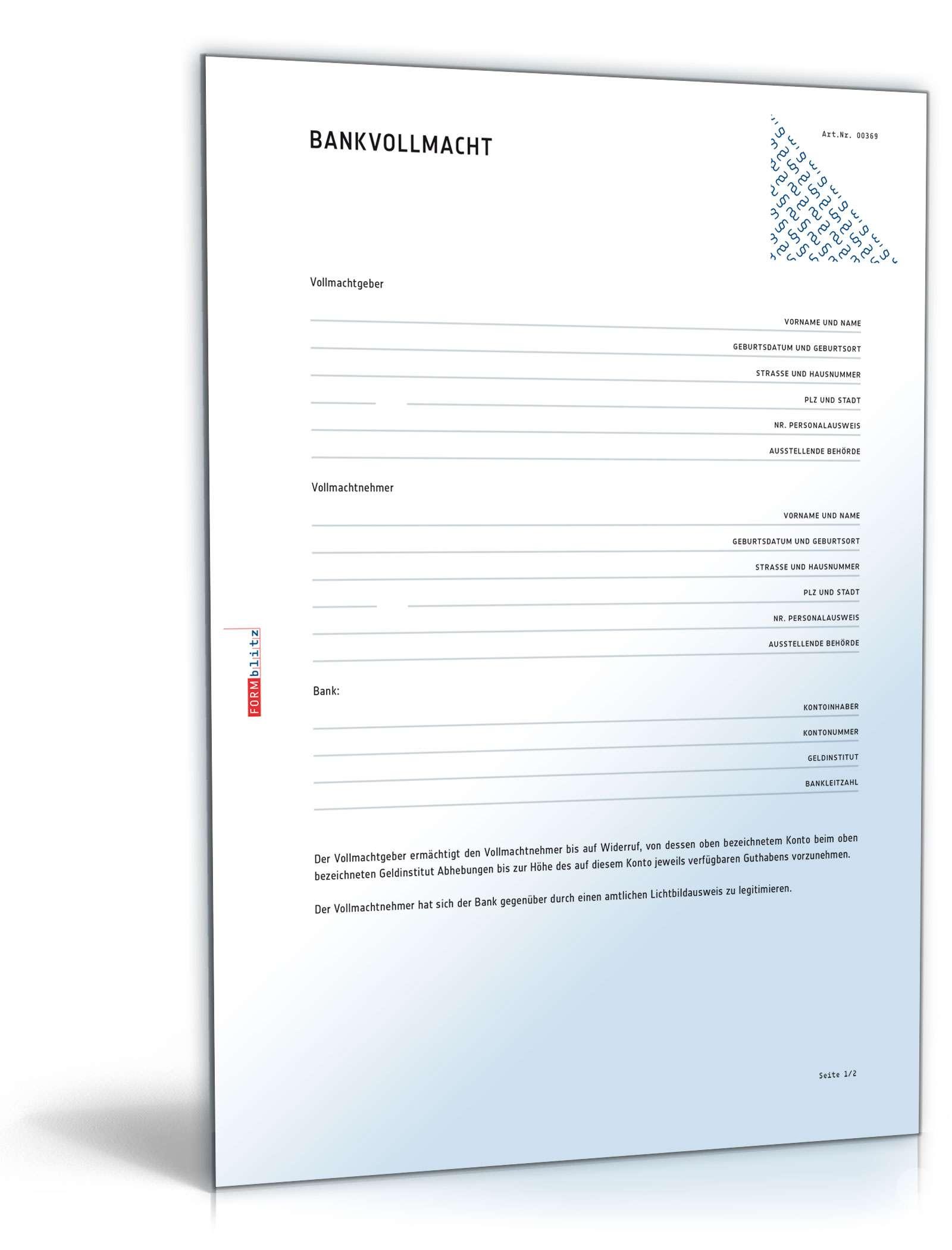 Bankvollmacht für Überweisungen - Muster-Vorlage zum Download