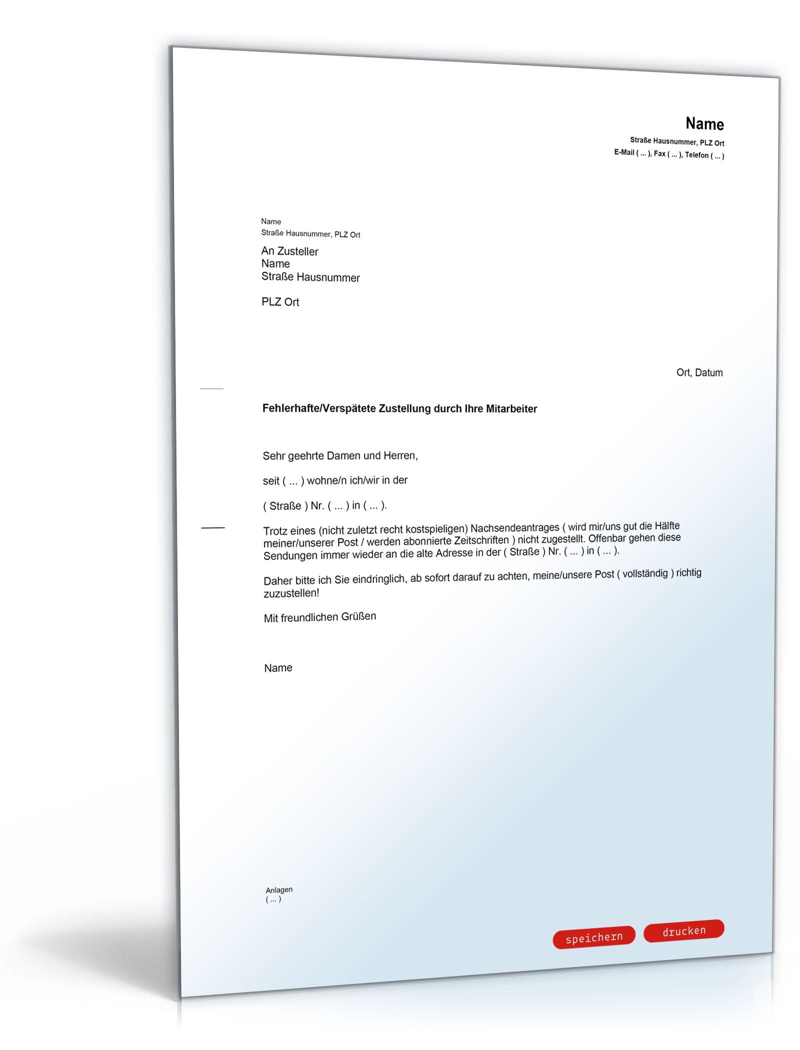 Beschwerde fehlerhafte Postzustellung - Muster-Vorlage zum Download
