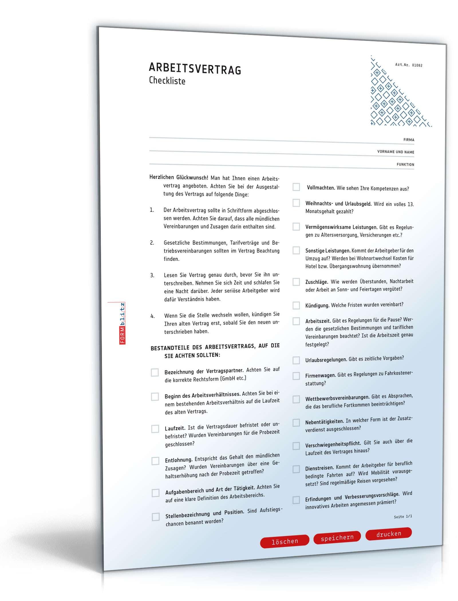 Checkliste Arbeitsvertrag Dokument zum Download