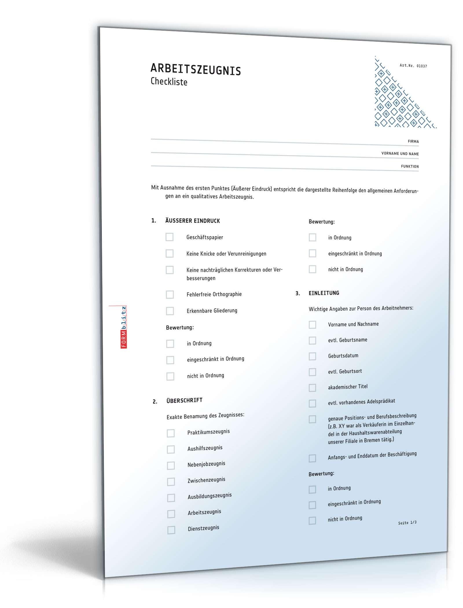 Checkliste Arbeitszeugnis Dokument zum Download