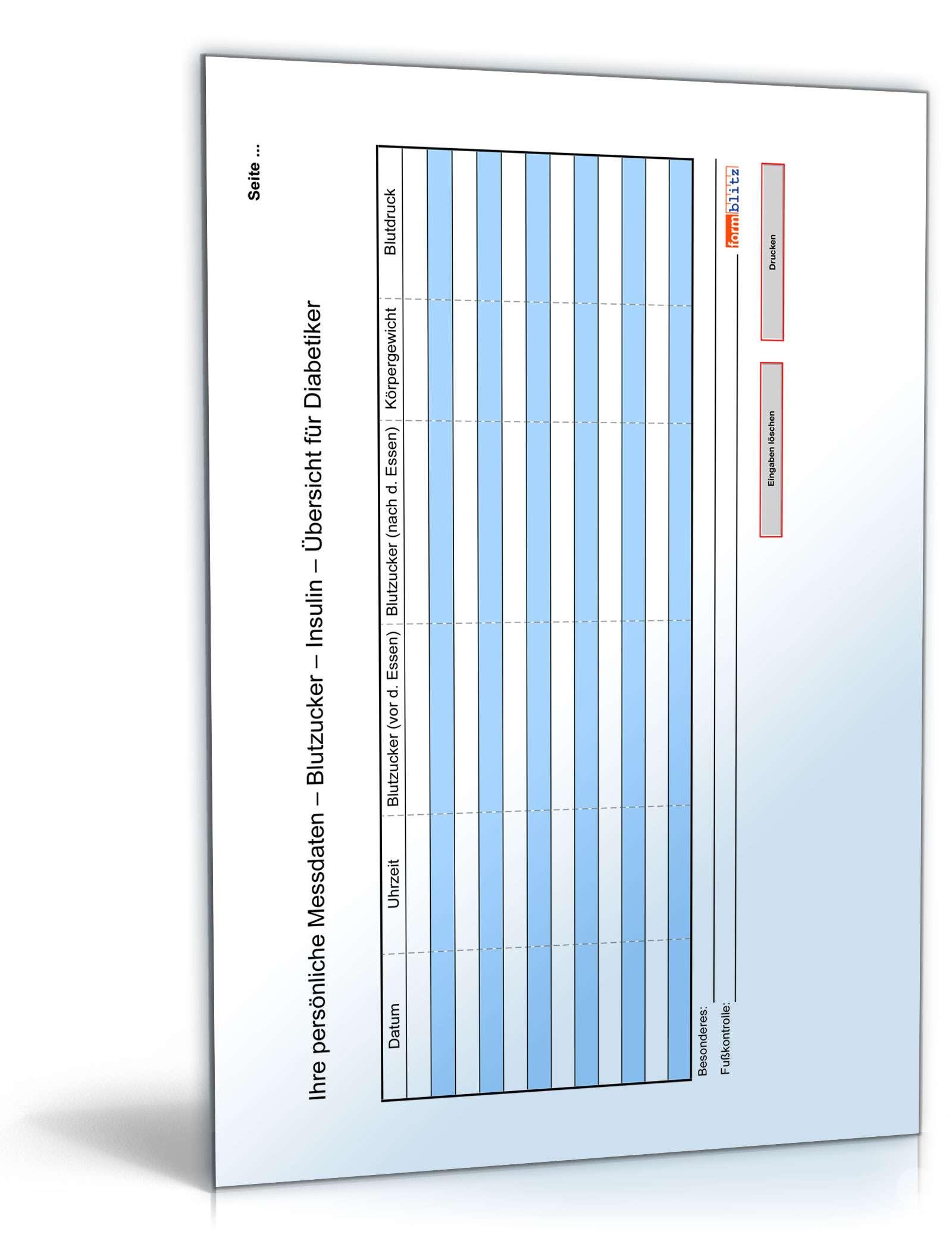 Diabetiker-Tagebuch - Tabelle zum Download