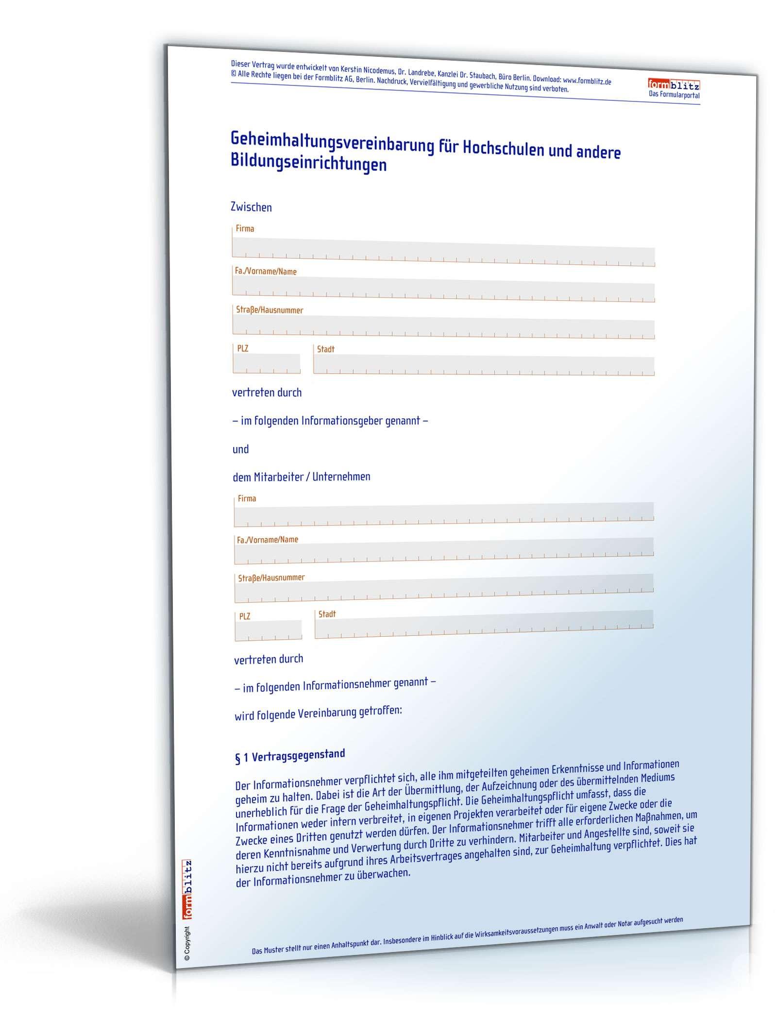 Schön Vertraulichkeitsvereinbarung Formularvorlage Fotos - Entry ...