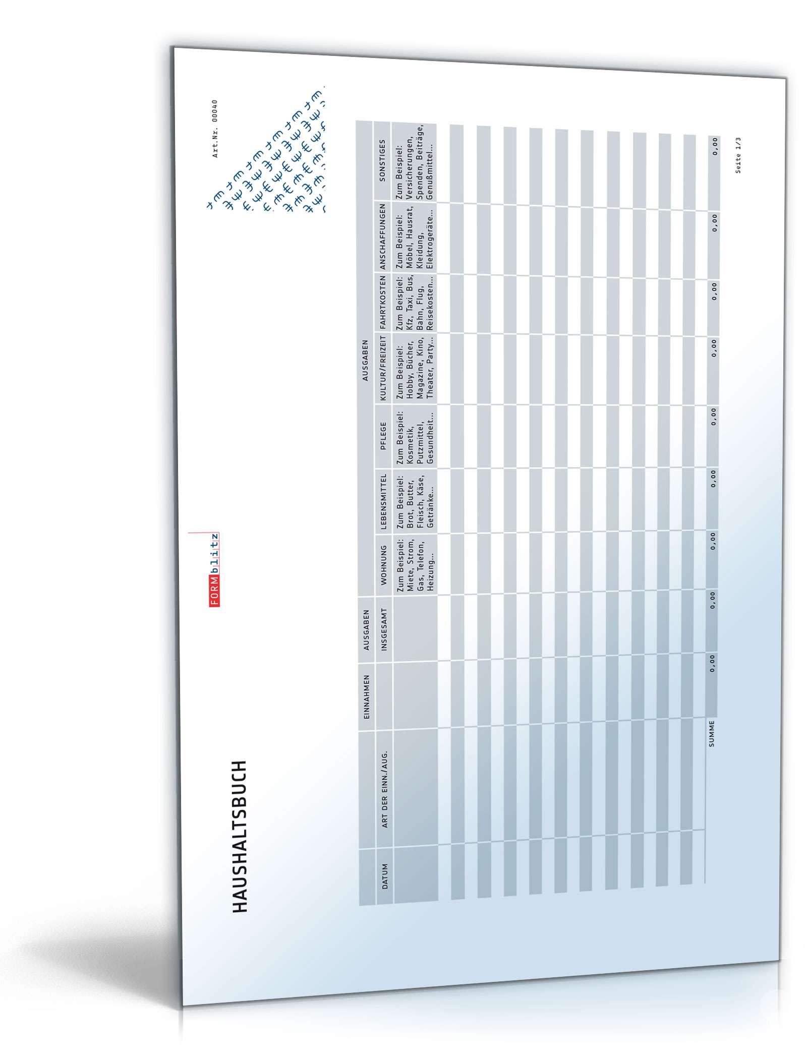Haushaltsbuch Dokument zum Download