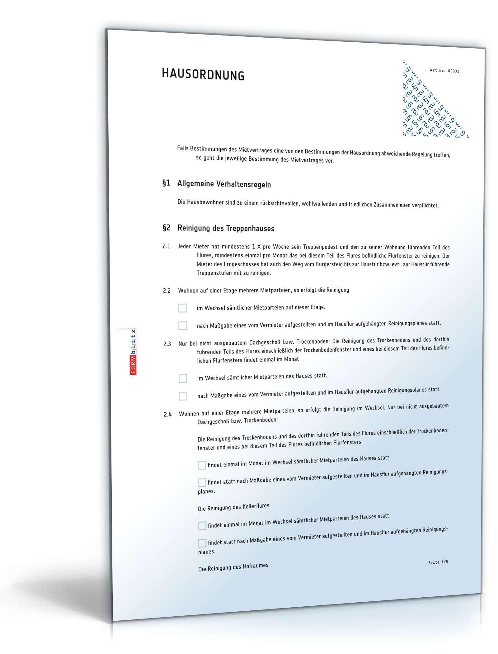 Hausordnung - Muster-Vorlage zum Download