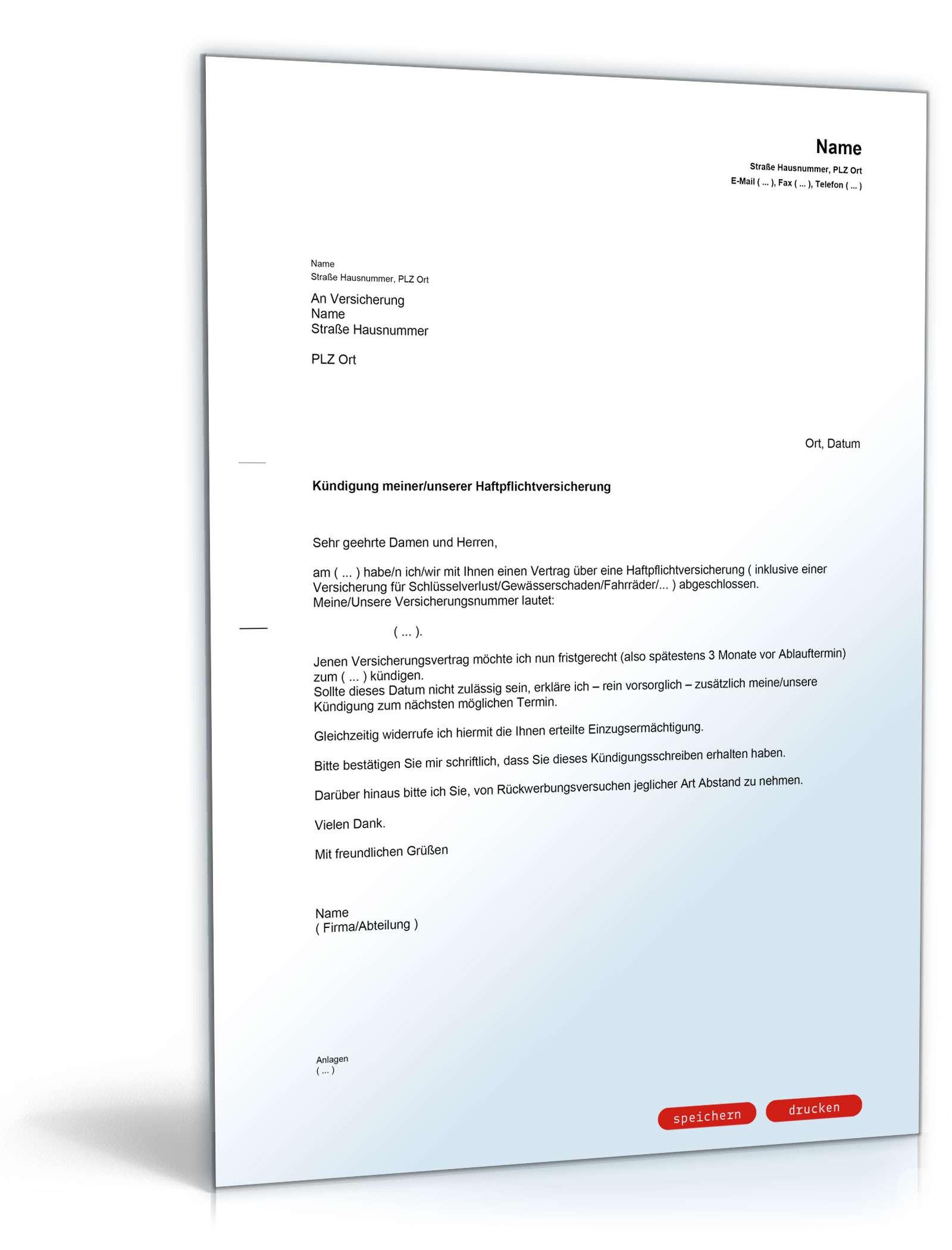 kndigung haftpflichtversicherung muster vorlage zum download - Widerruf Einzugsermachtigung Muster