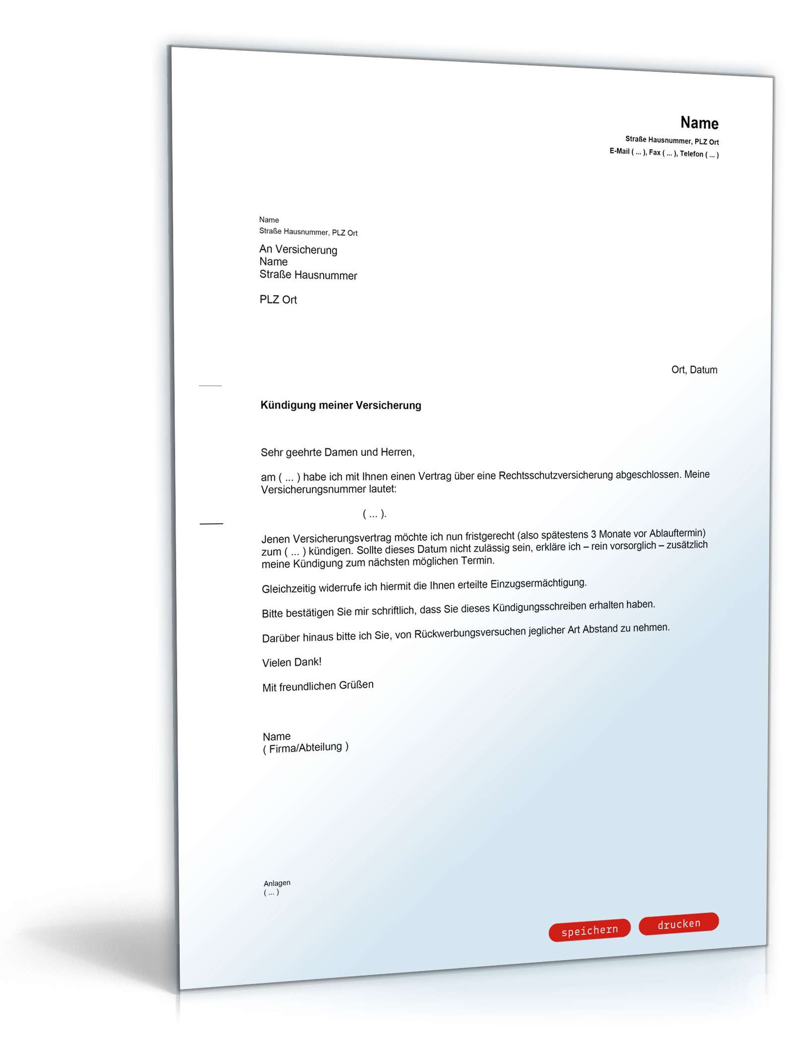 Roland Rechtsschutzversicherung Kundigung