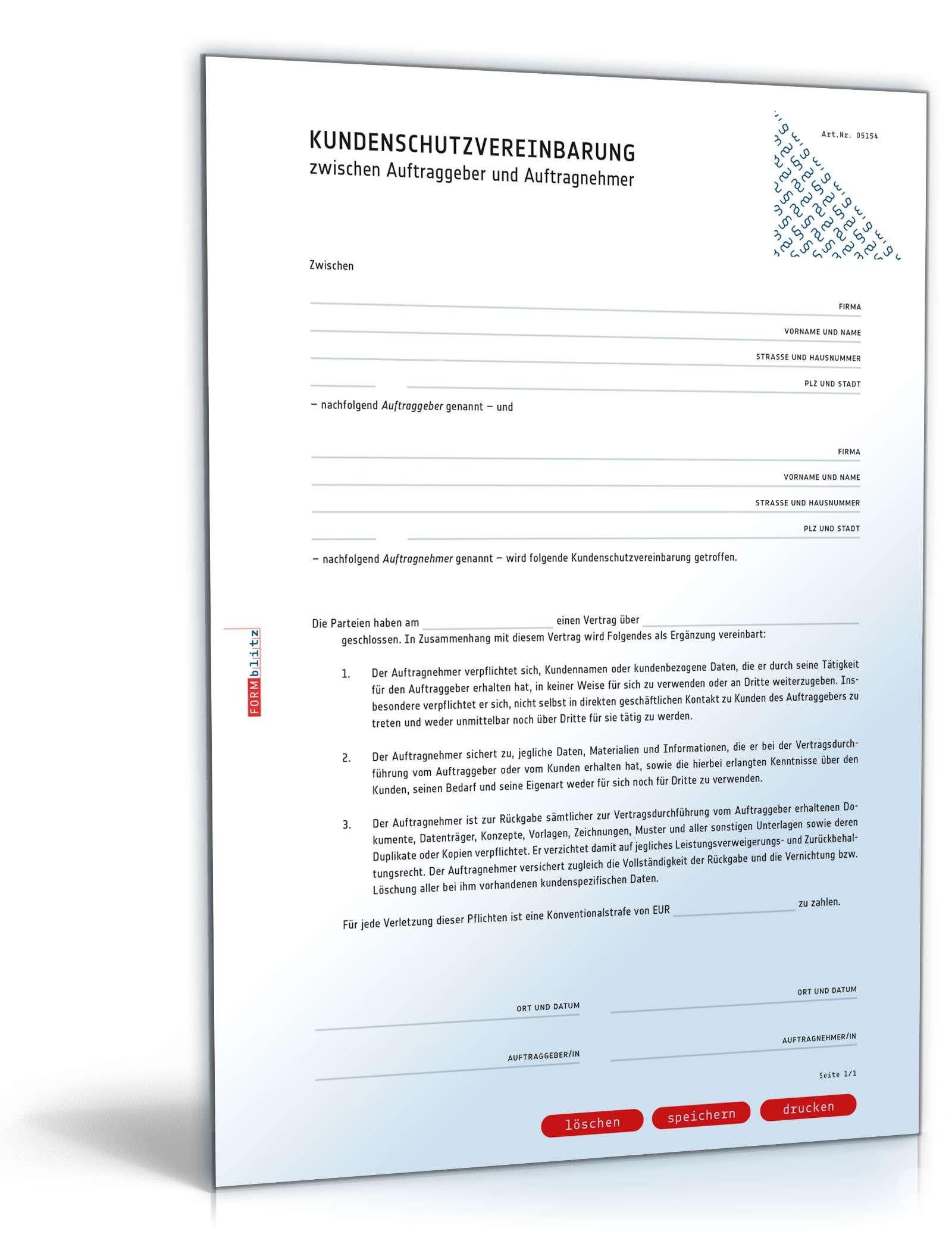 kundenschutzvereinbarung muster zum download. Black Bedroom Furniture Sets. Home Design Ideas