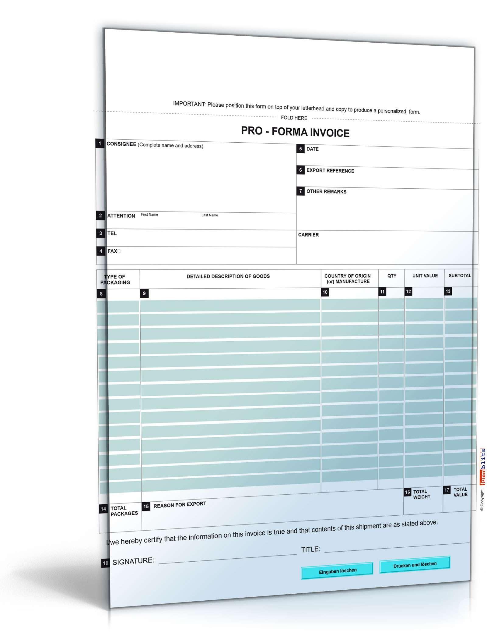 pro forma rechnung pro forma invoice formular zum download. Black Bedroom Furniture Sets. Home Design Ideas