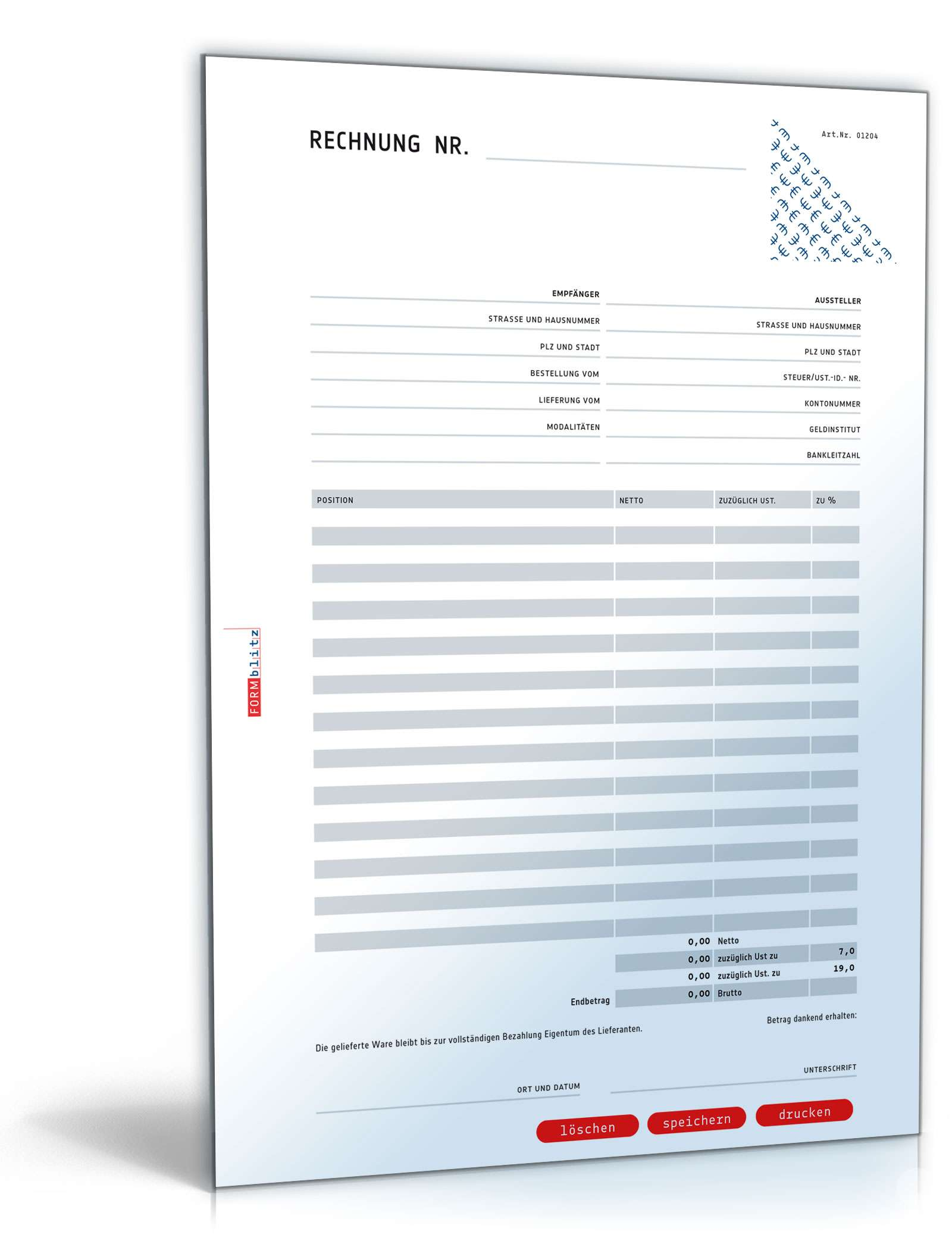 Rechnung netto (Addition und Variation der Umsatzsteuer) Dokument zum Download