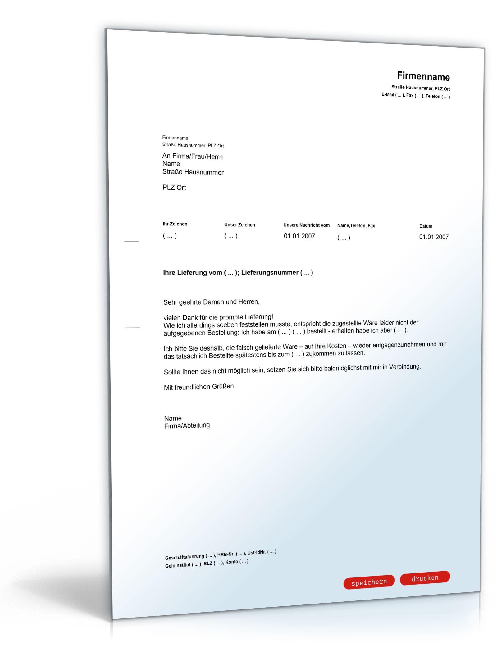 Musterbriefe Kündigung : Reklamation wegen falschlieferung muster vorlage zum