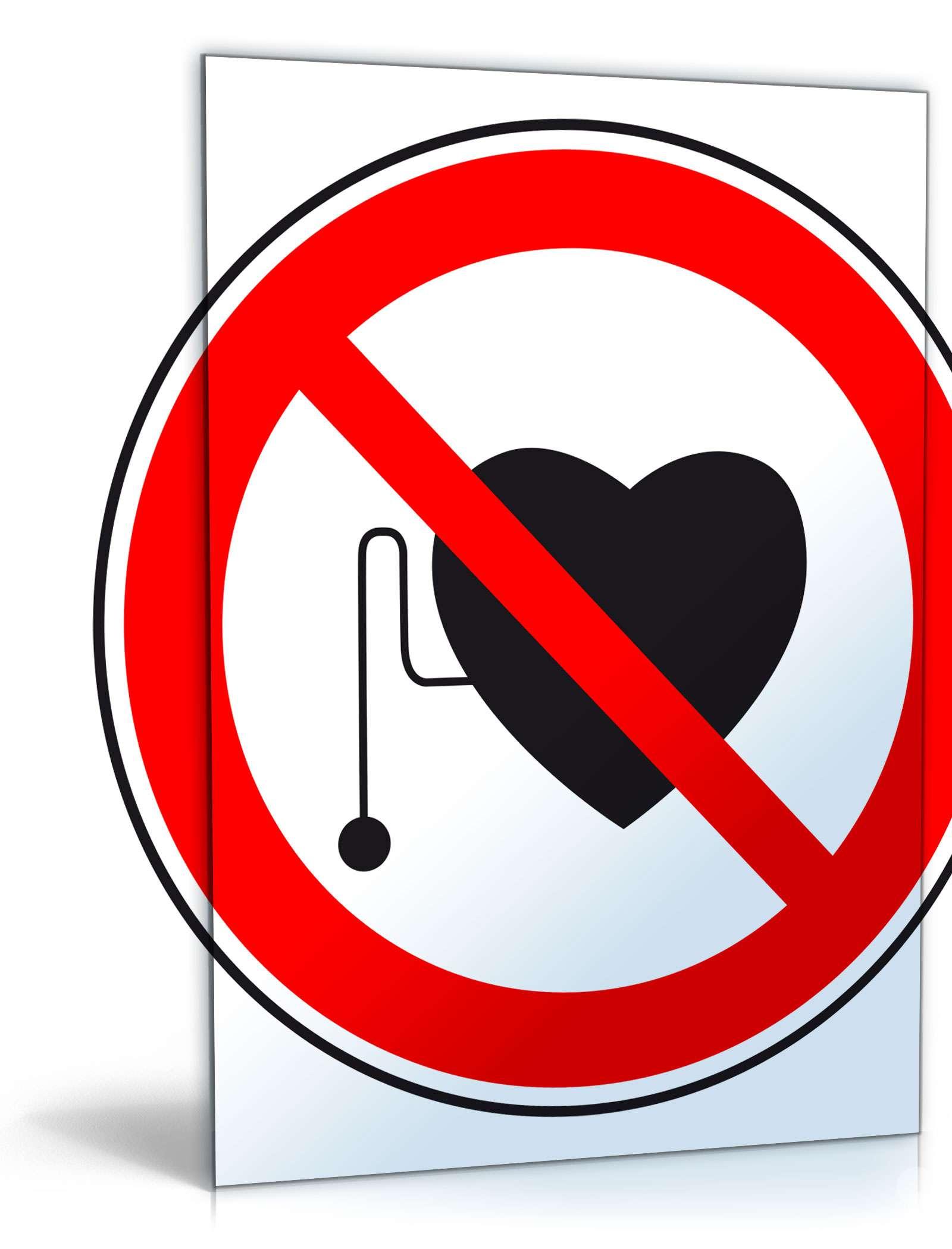 """Schild """"Verbot für Herzschrittmacher"""" Dokument zum Download"""