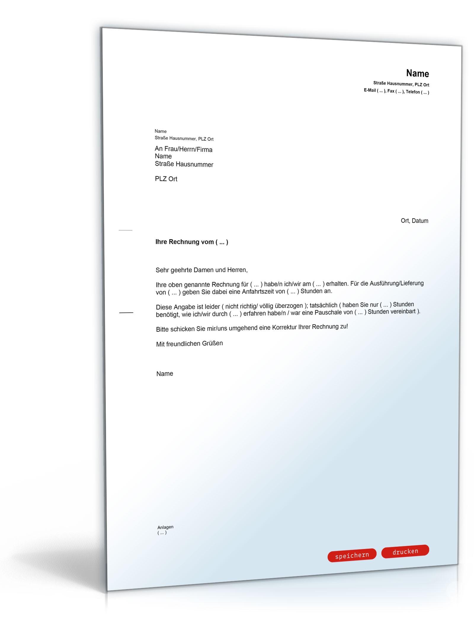 Musterbriefe Rechnungen : Zurückweisung rechnung überhöhte fahrtkosten muster
