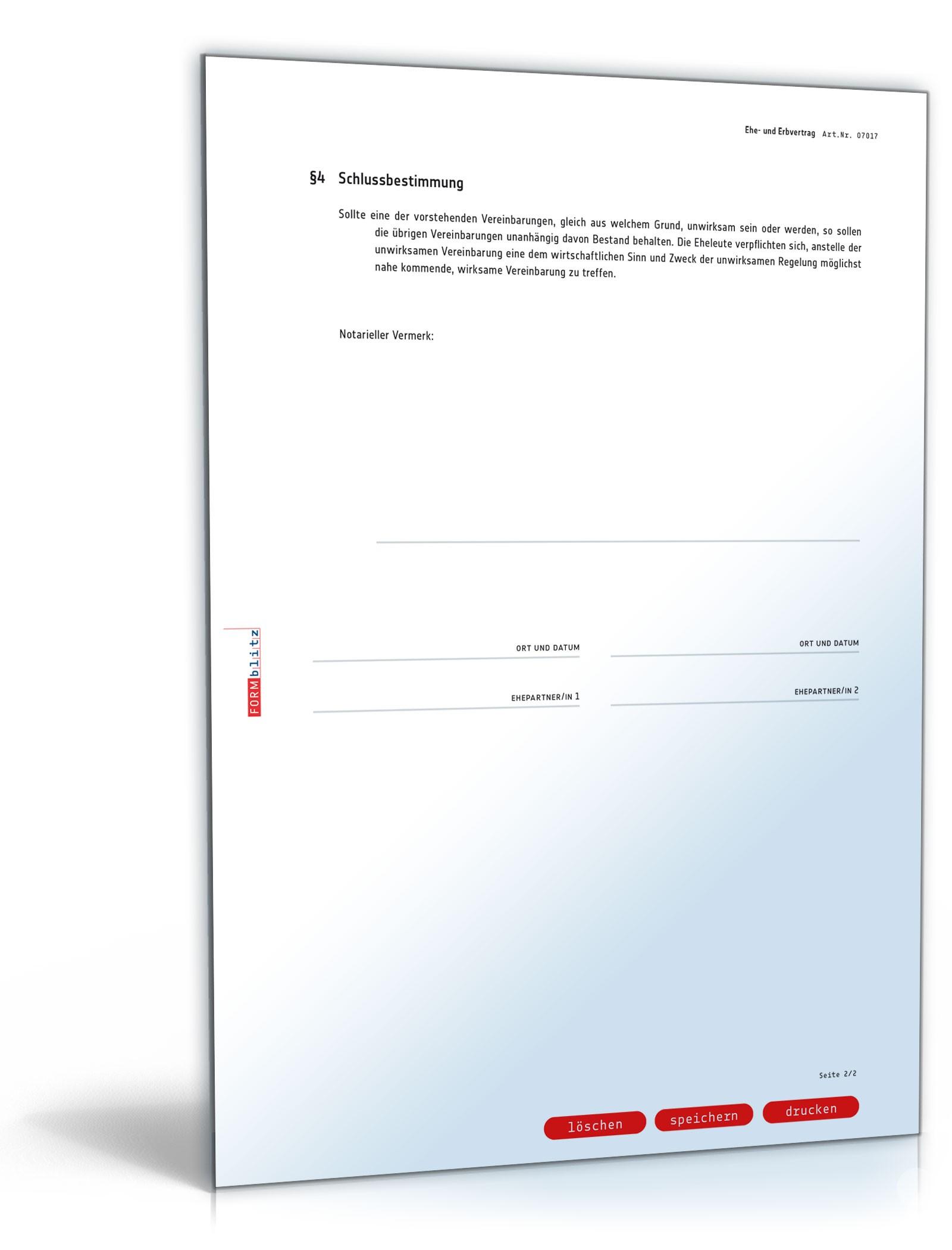 Ehevertrag und Erbvertrag - Muster-Vorlage zum Download