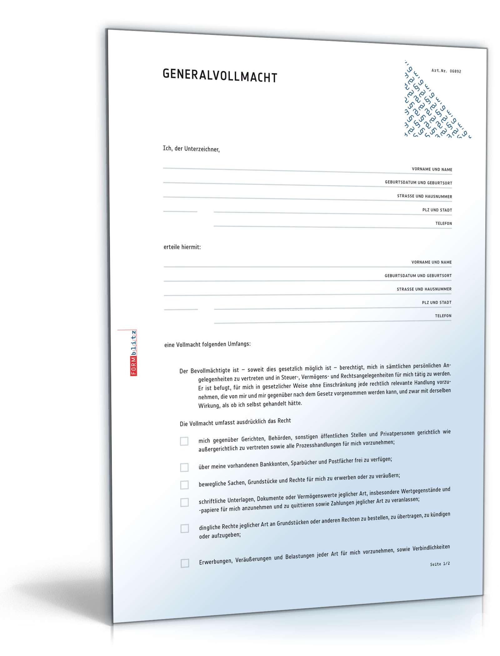 Generalvollmacht Muster Vorlage Zum Download
