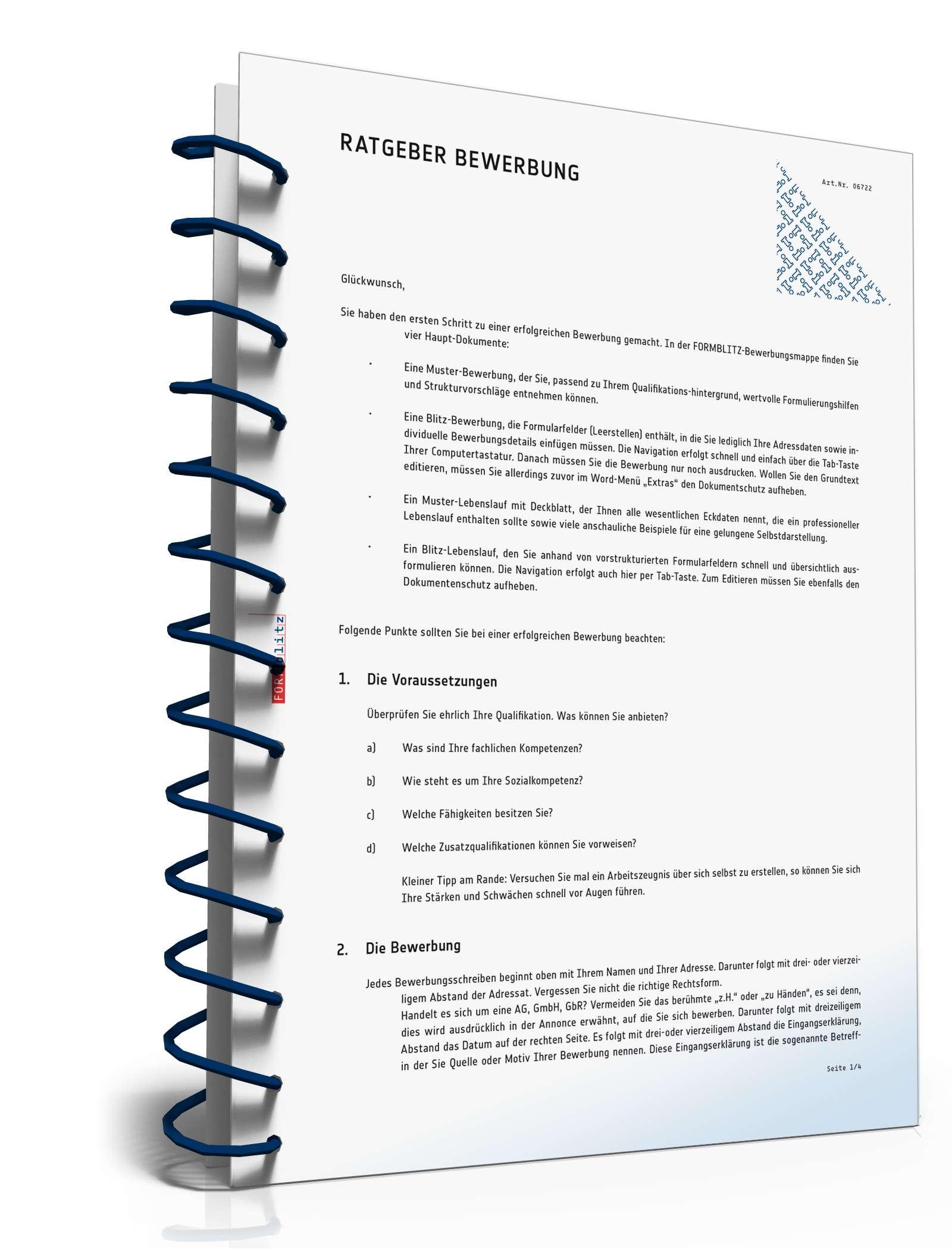 Ratgeber Bewerbung Muster Vorlage Zum Download