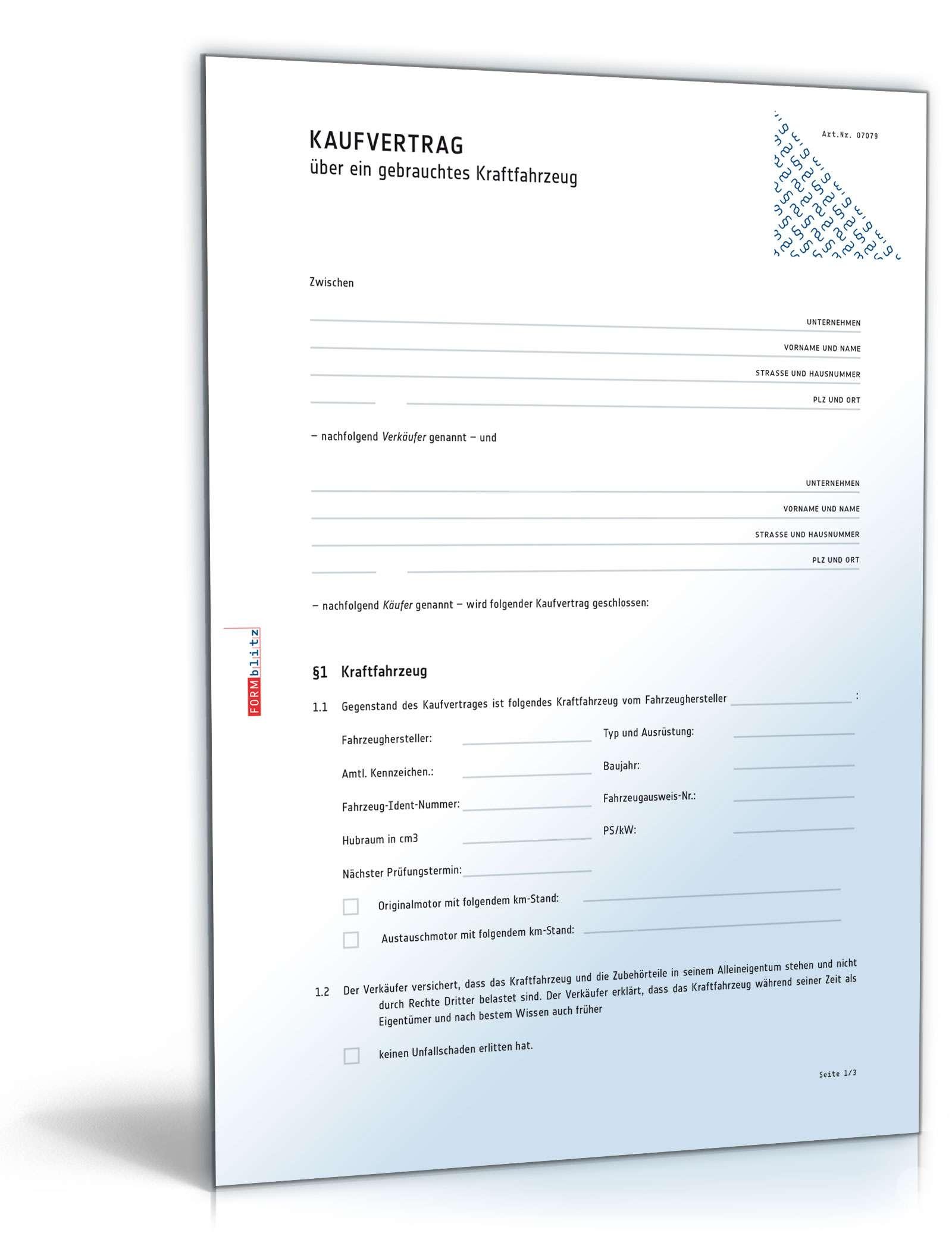 Kaufvertrag über Ein Gebrauchtes Kraftfahrzeug Muster Vorlage Zum