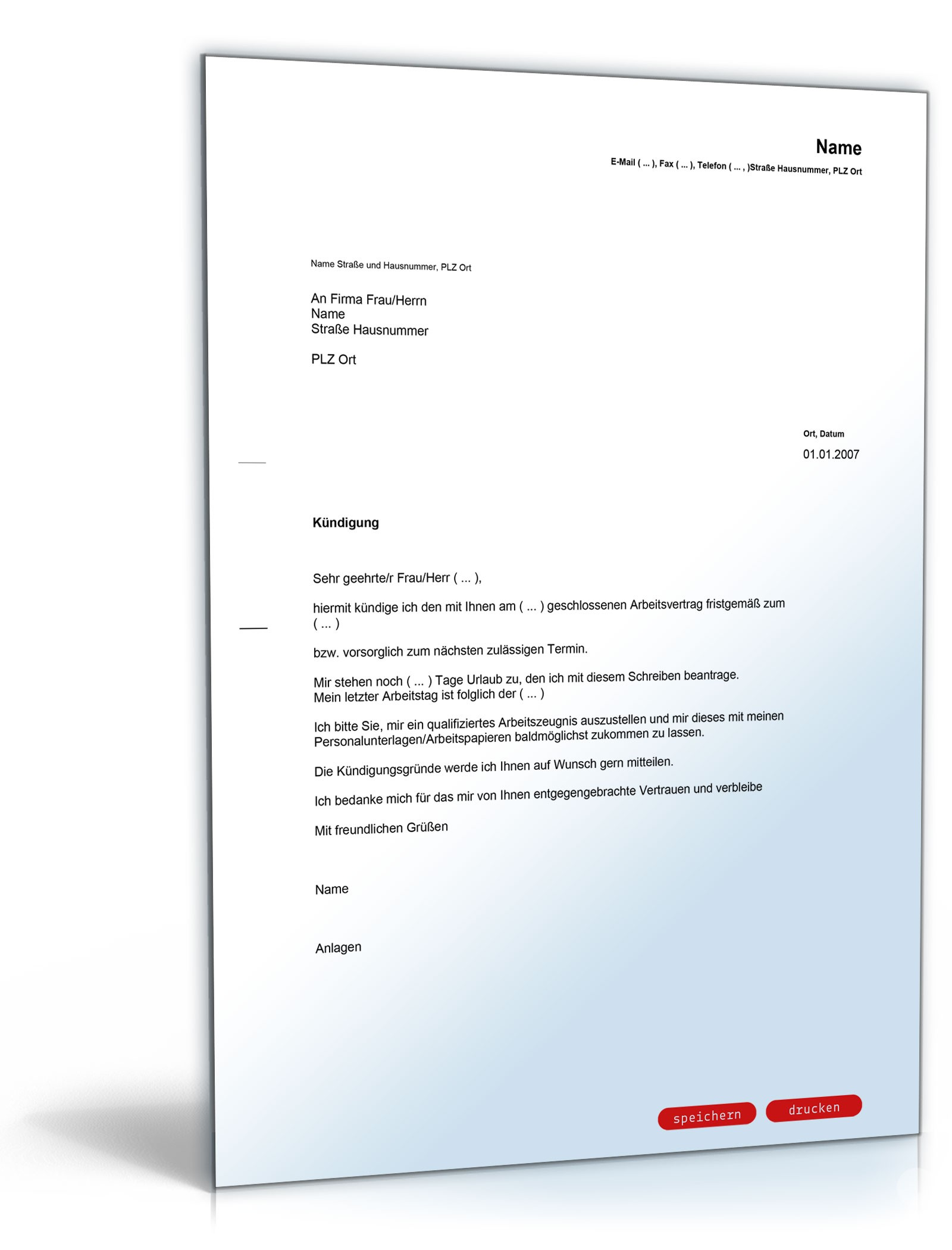 Kündigung Arbeitsvertrag Fristgemäß Arbeitnehmer Muster Vorlage