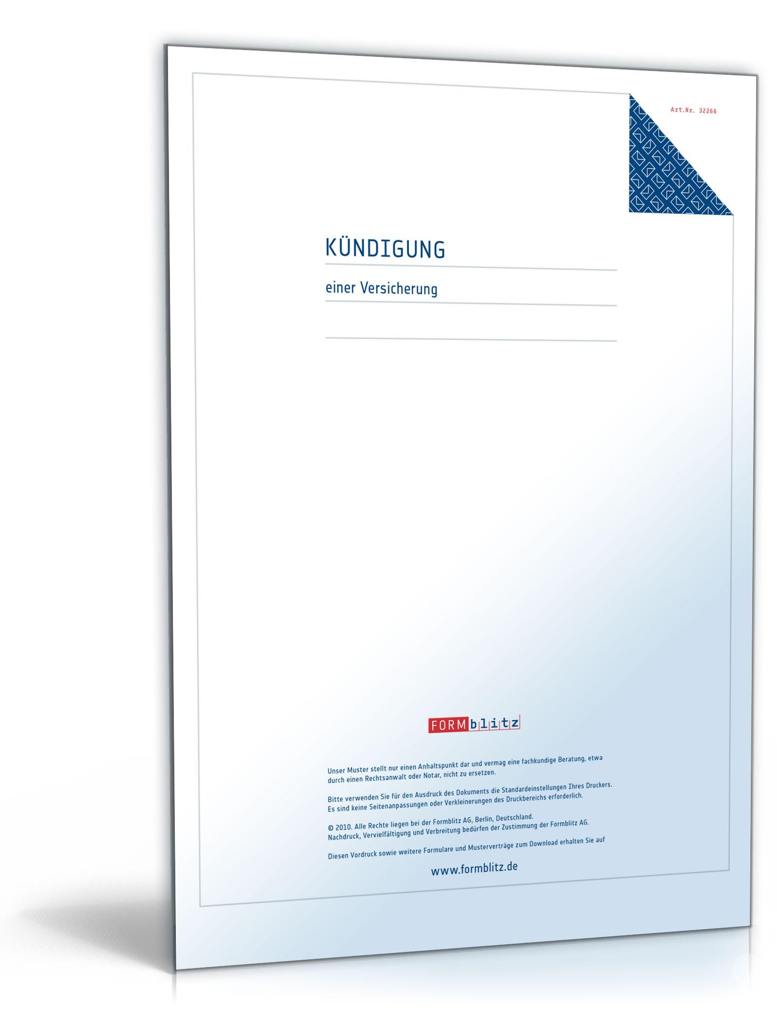 kndigung einer versicherung - Versicherung Kundigung Muster