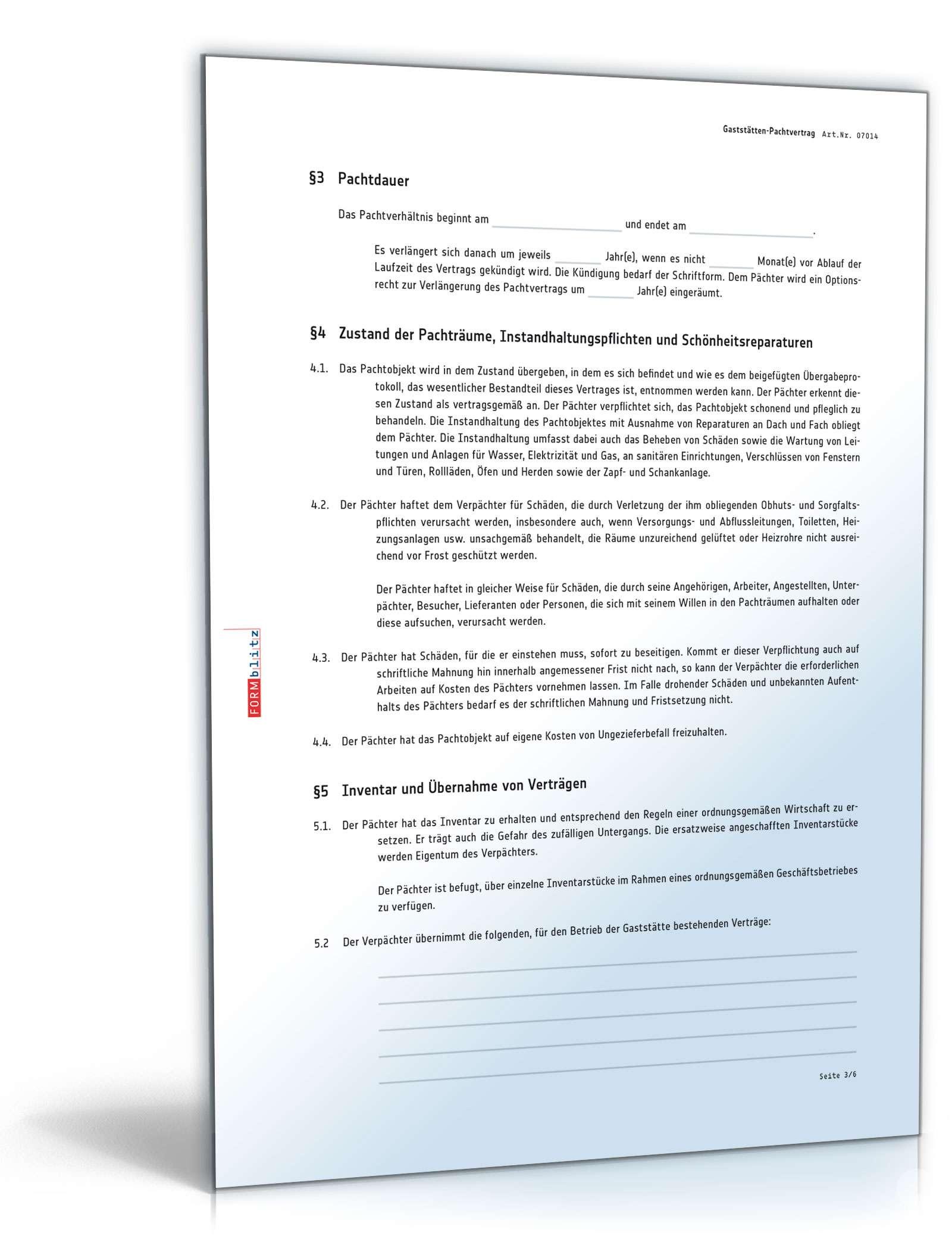 Gaststätten Pachtvertrag Muster Vorlage Zum Download
