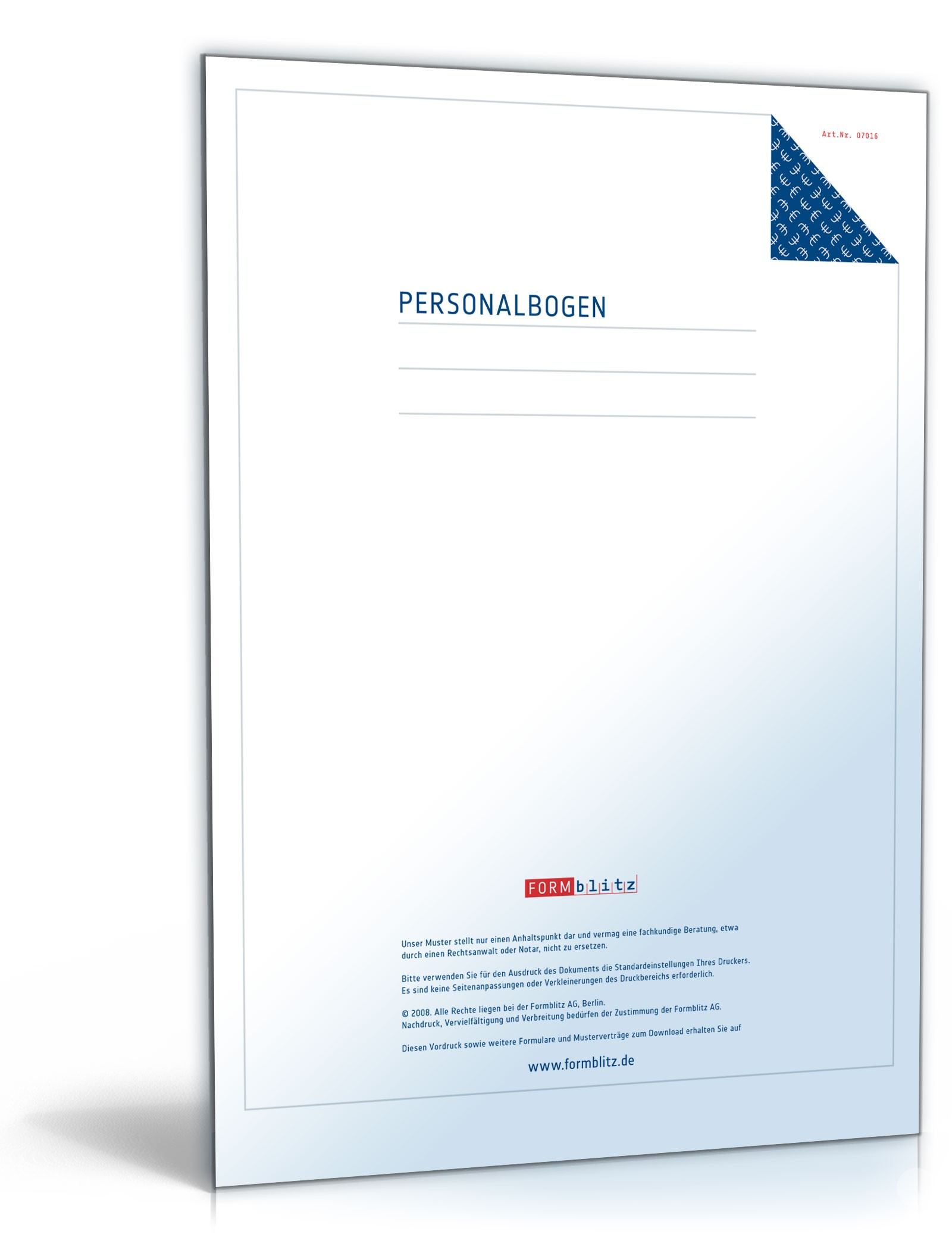 personalbogen formular zum download - Personalbogen Muster