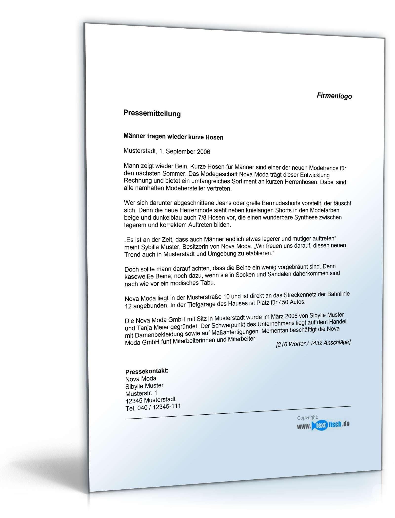 Pressemitteilung über neuen Trend (Bekleidungsladen) - Musterbrief ...