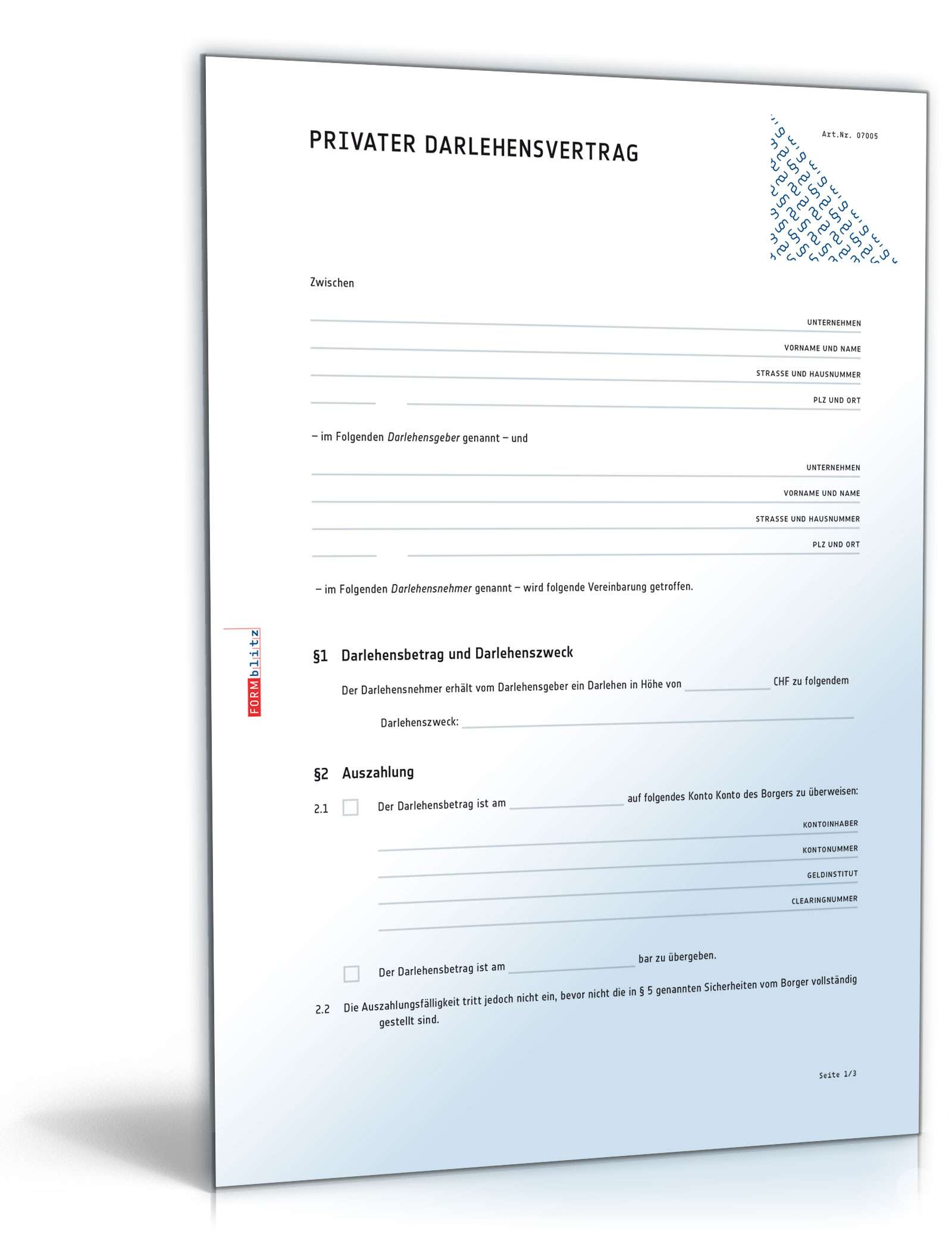 Privater Darlehensvertrag Muster Vorlage Zum Download
