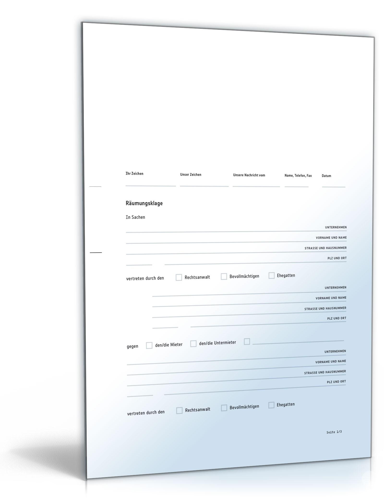 Räumungsklage - Vorlage zum Download