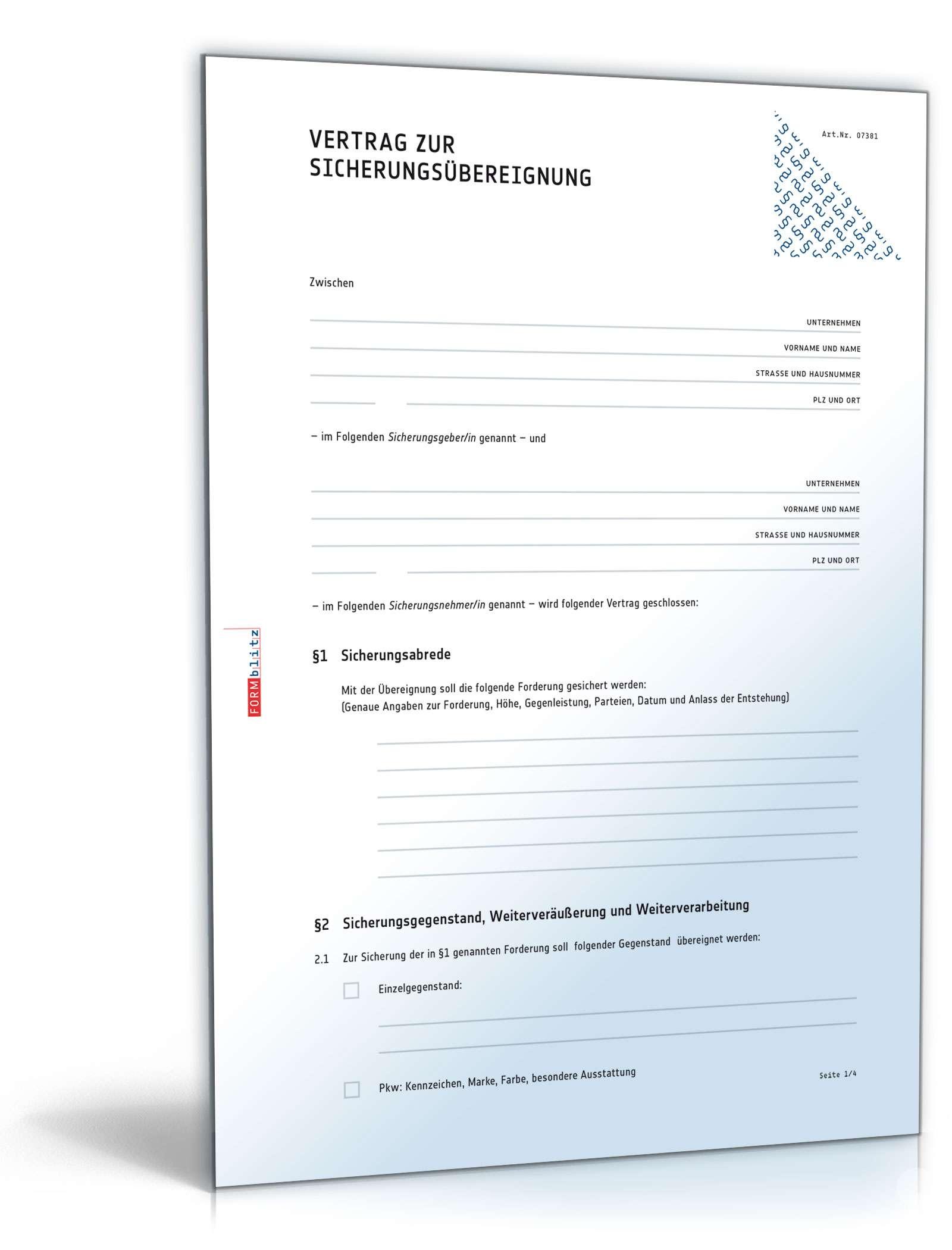 Vertrag Zur Sicherungsübereignung Muster Zum Download